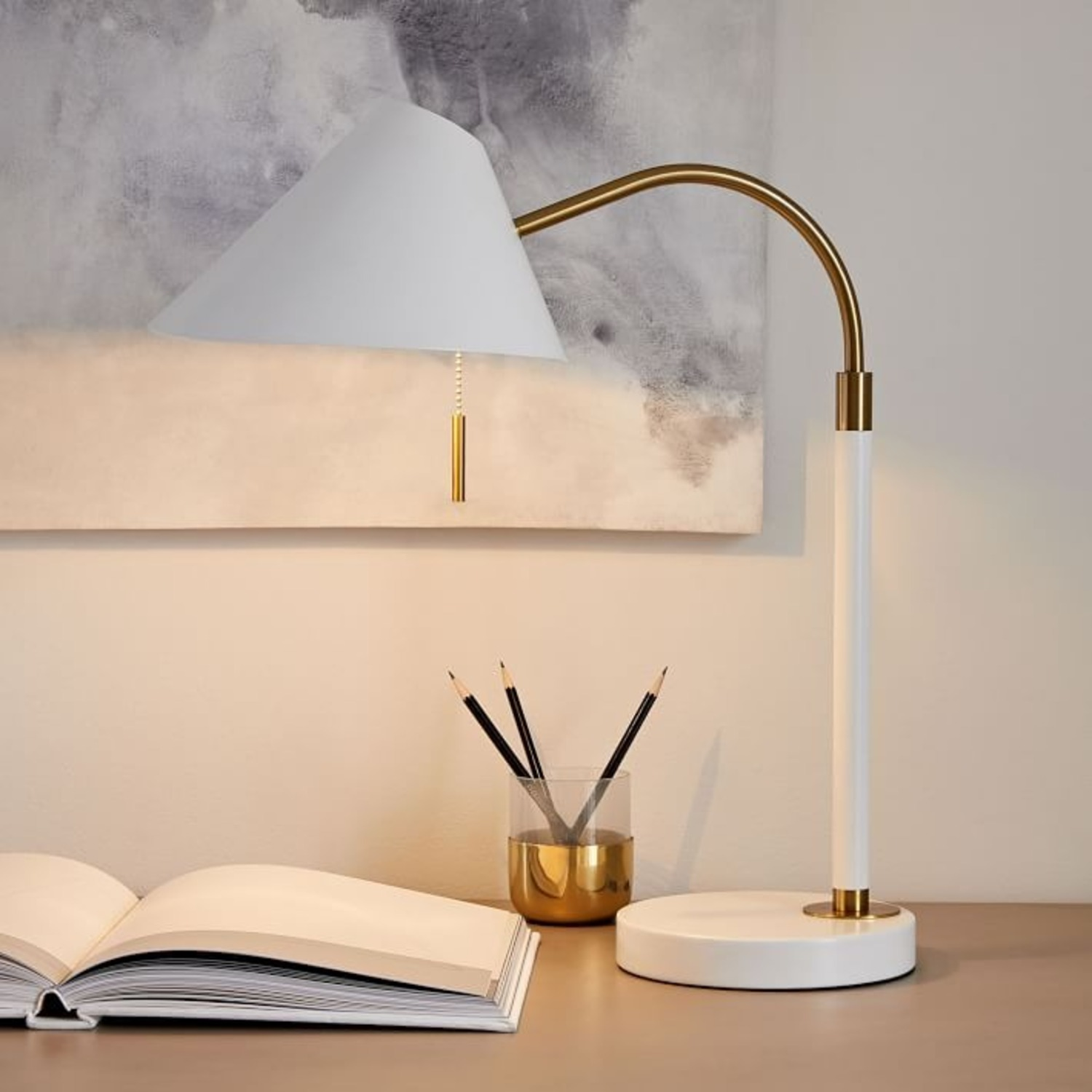 West Elm Mid Century Task Table Lamp + USB - image-0