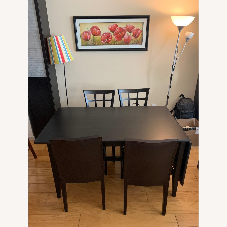 4 Cushioned Window Pane Dark Brown Dining Chairs - image-2