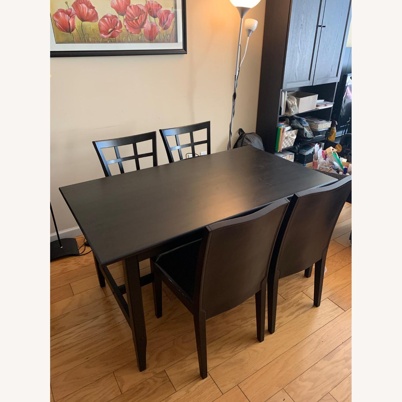 4 Cushioned Window Pane Dark Brown Dining Chairs - image-1