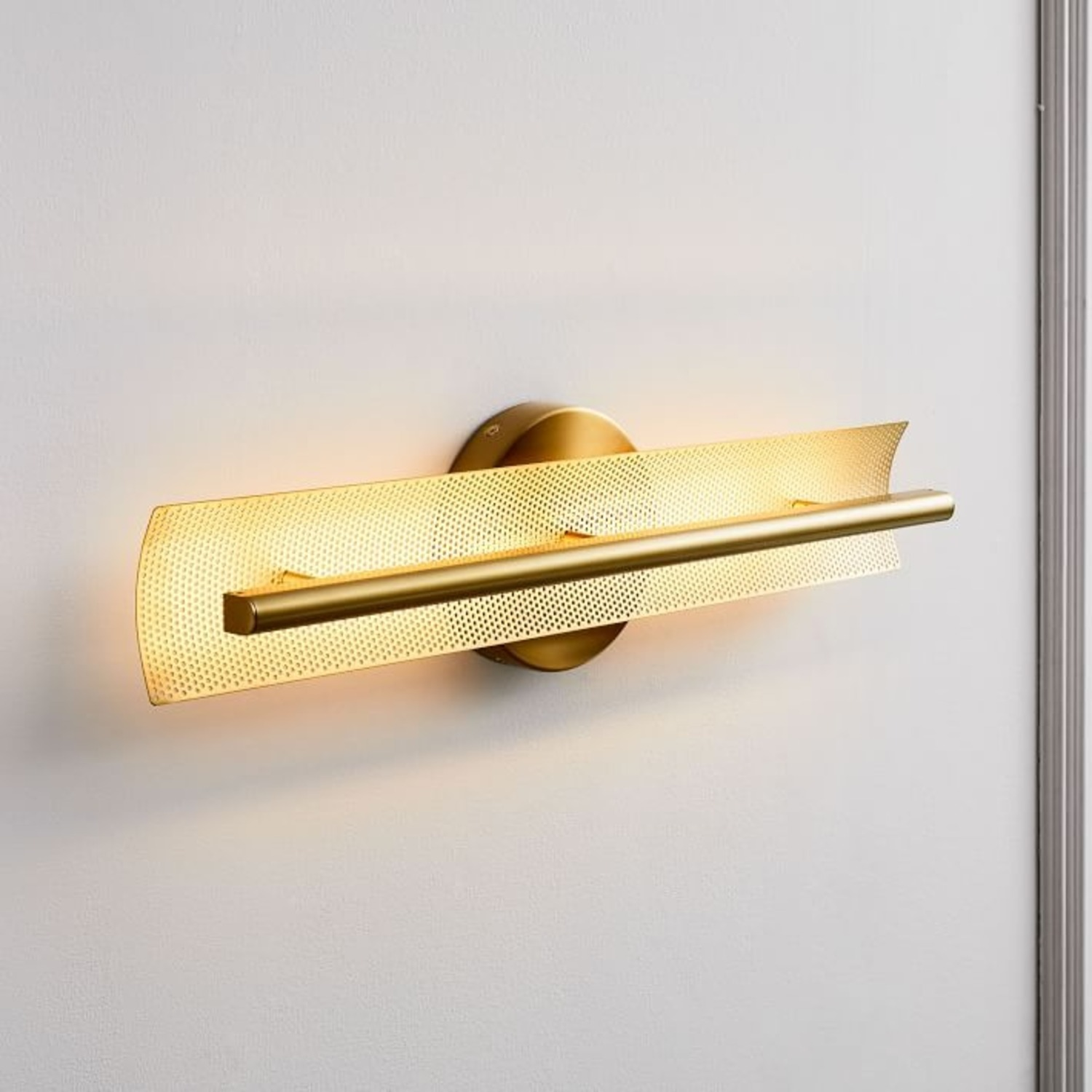 West Elm LED Perforated Sconce, Brass - image-0