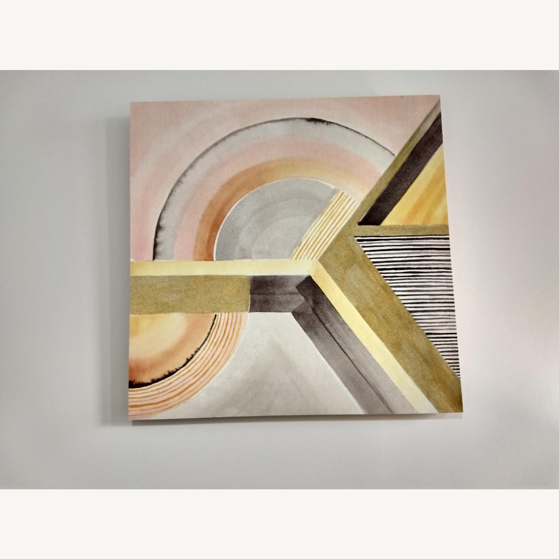 West Elm Modern Yellow Surrealist Wood Panel Painting - image-3