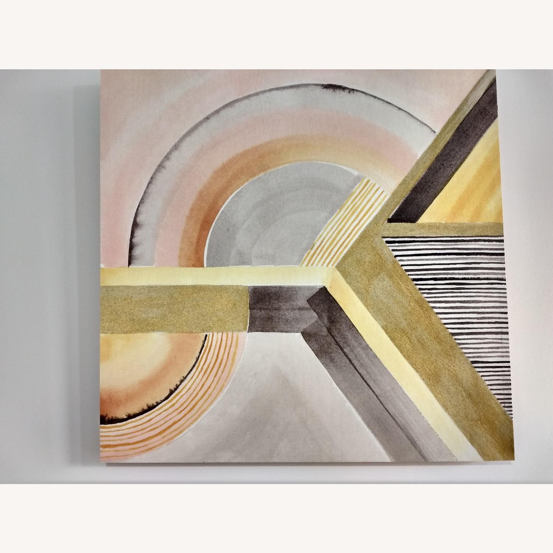 West Elm Modern Yellow Surrealist Wood Panel Painting - image-1