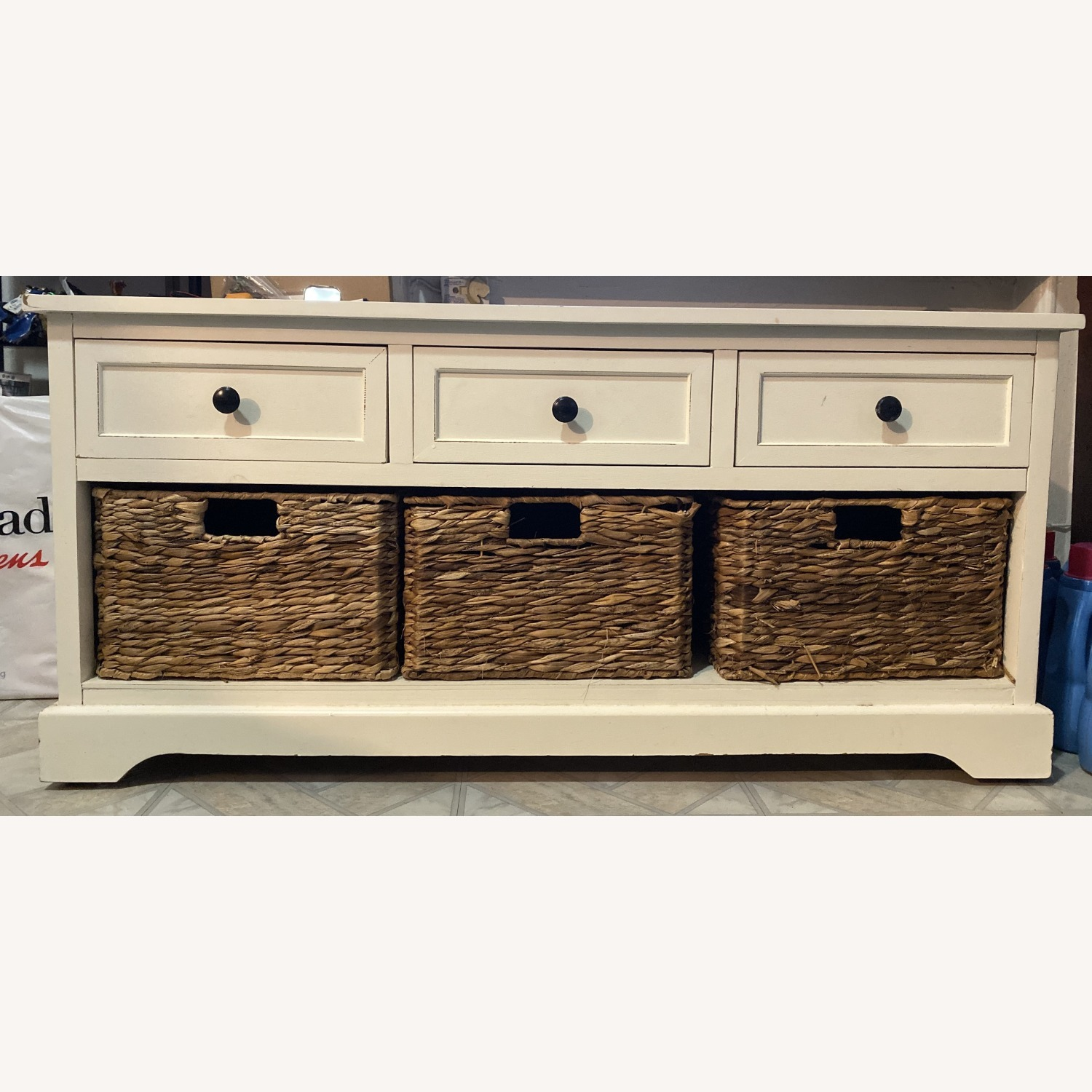 White Credenza with Baskets - image-1