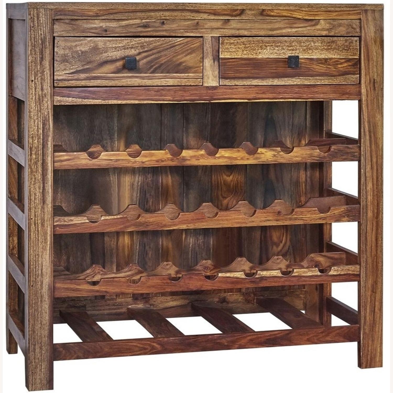 Rustic Wine Cabinet In Natural Sheesham Wood - image-0