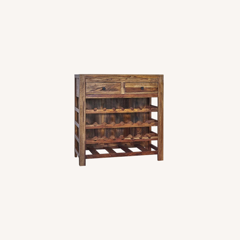Rustic Wine Cabinet In Natural Sheesham Wood - image-4