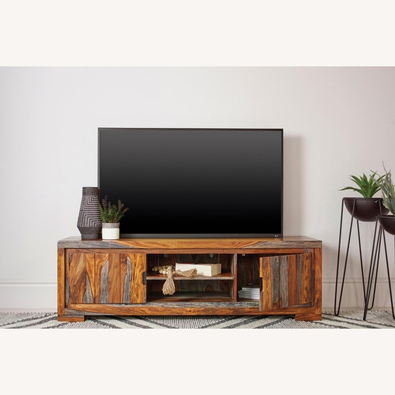 Modern TV Console In Sheesham Grey - image-2