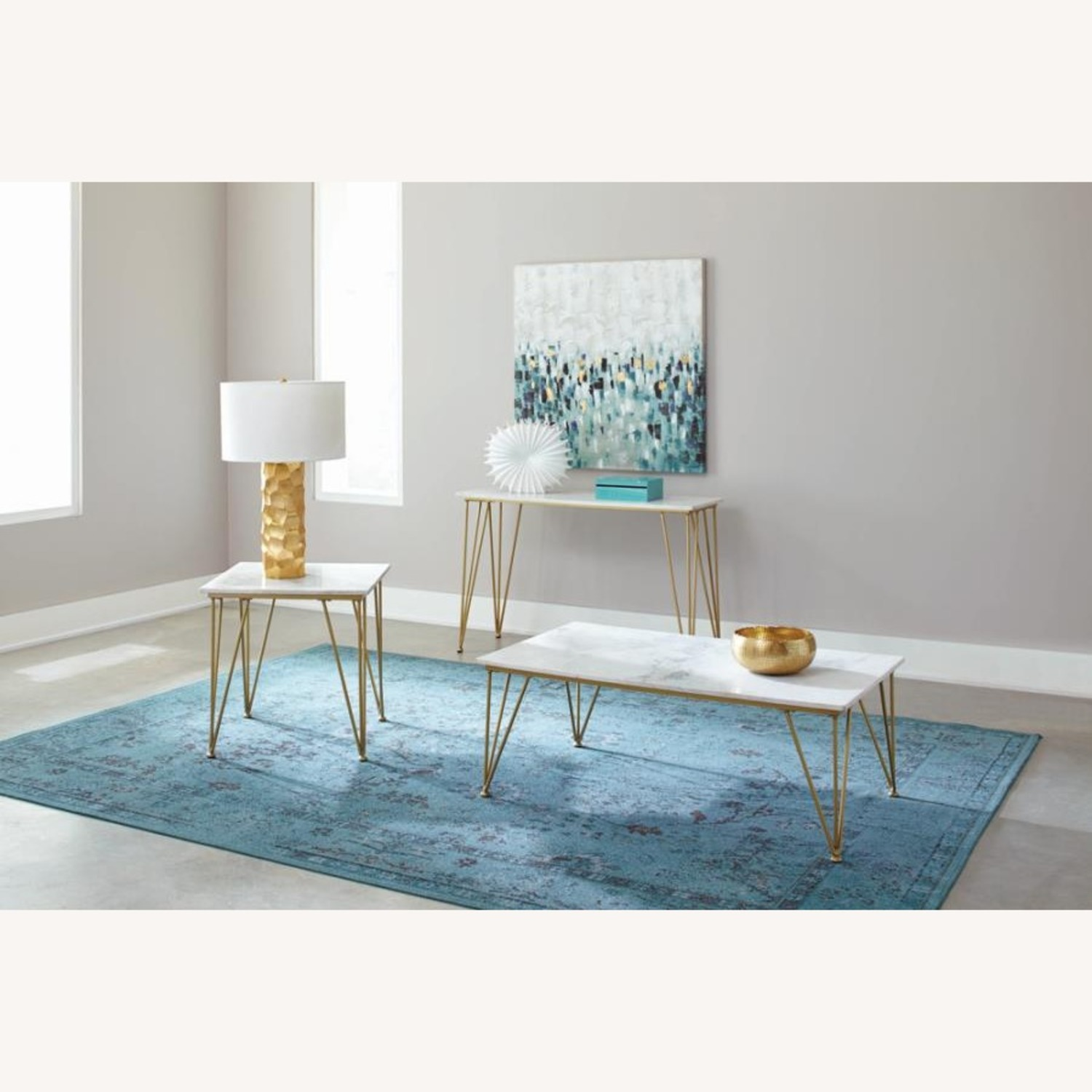 Classic Sofa Table In White Marble Tabletop Finish - image-3