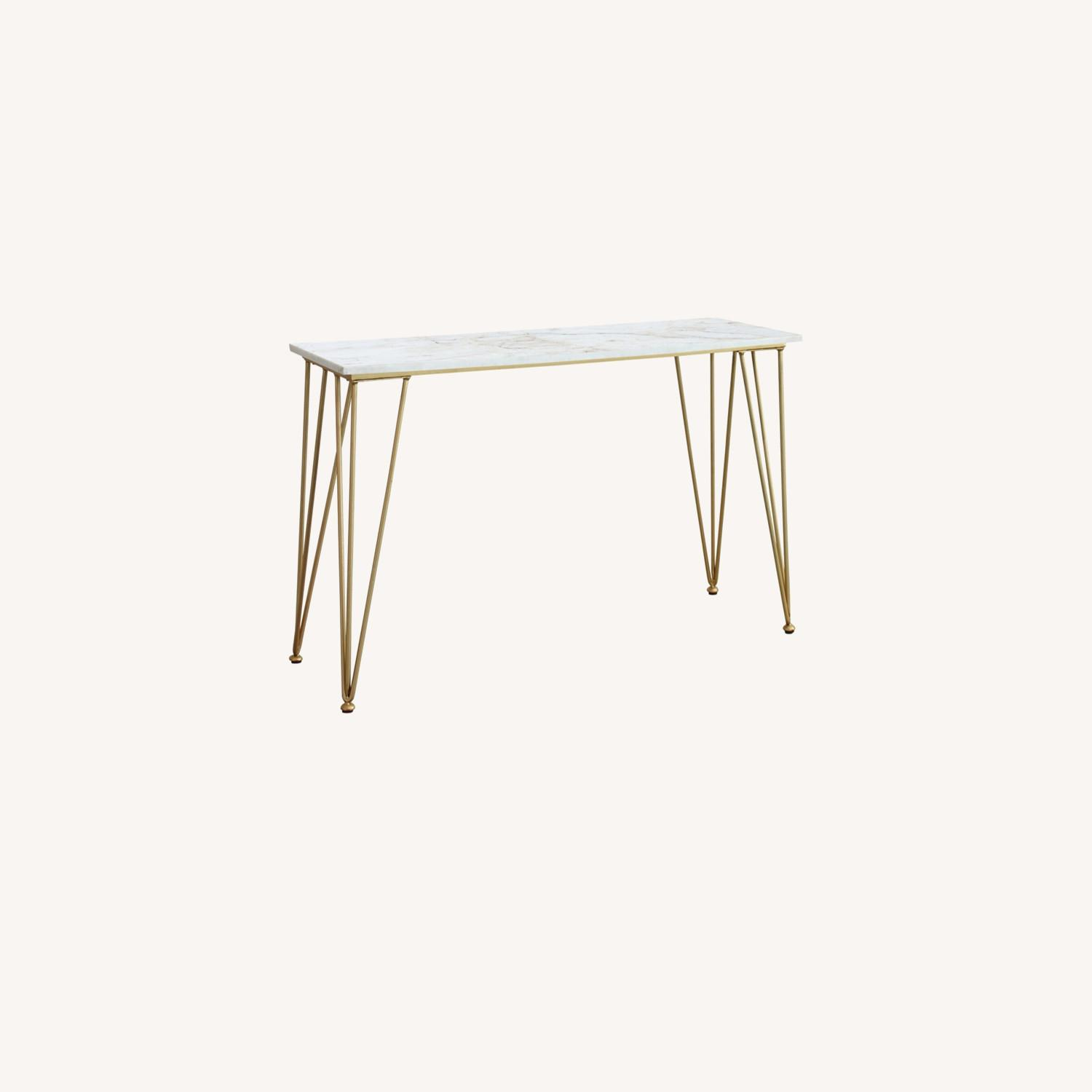 Classic Sofa Table In White Marble Tabletop Finish - image-4