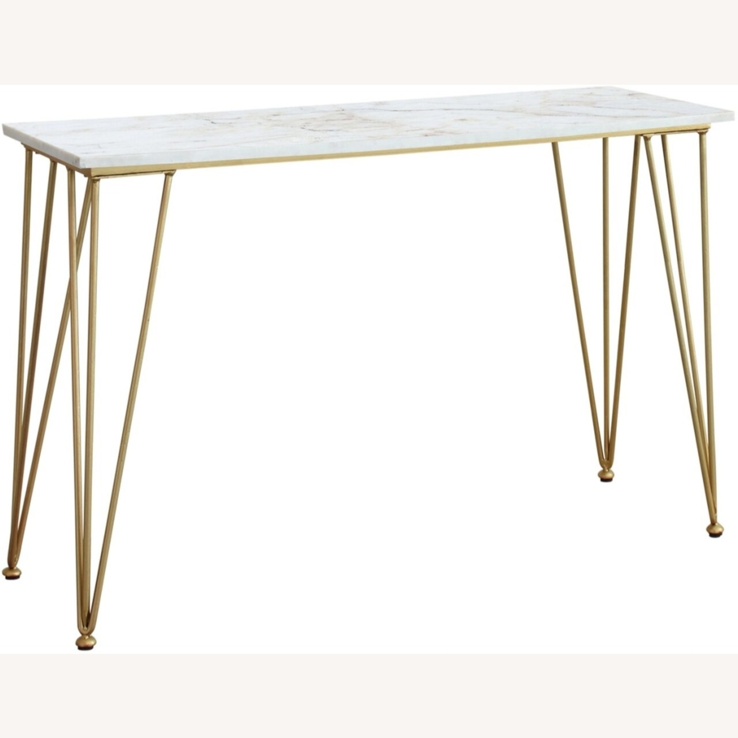 Classic Sofa Table In White Marble Tabletop Finish - image-0