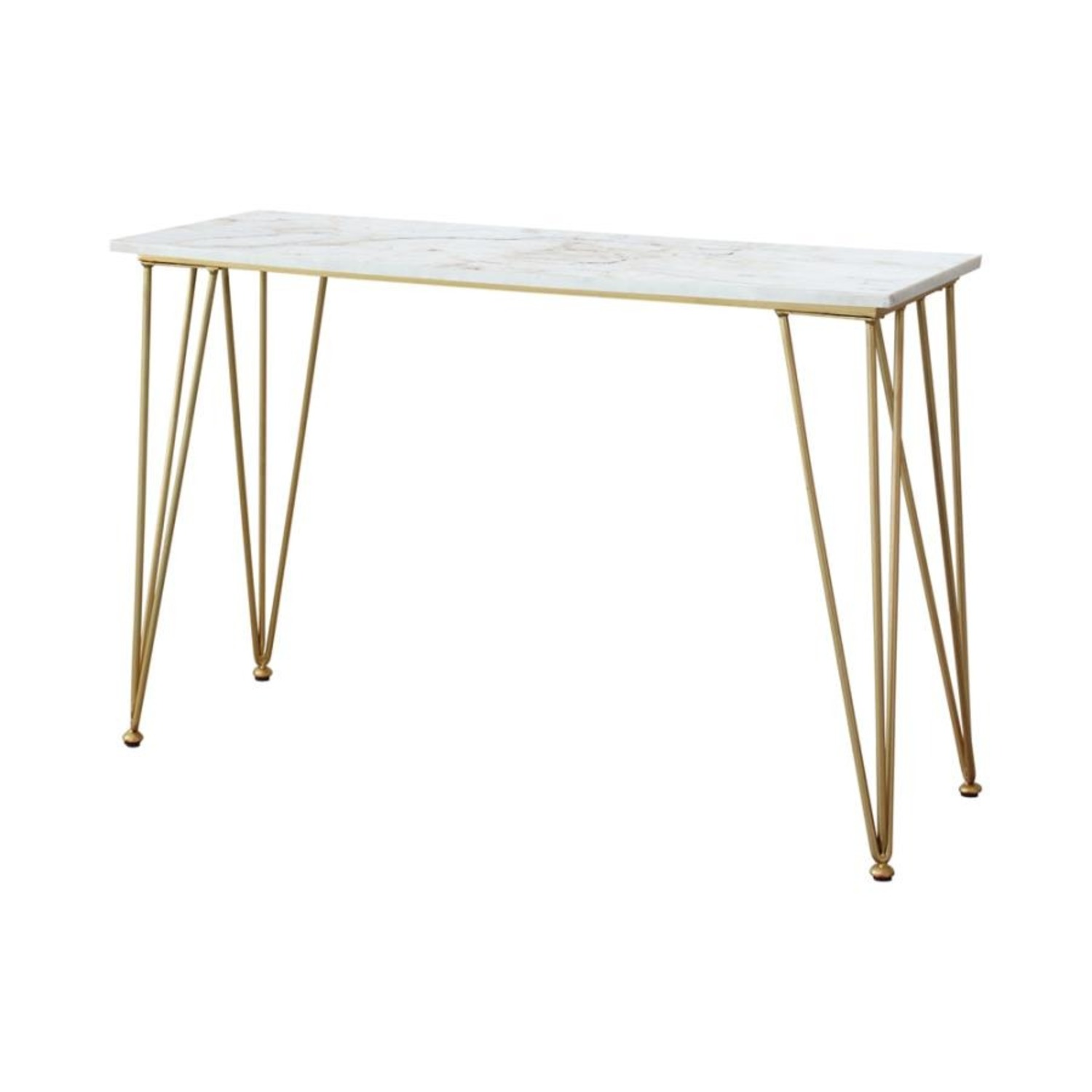 Classic Sofa Table In White Marble Tabletop Finish - image-1