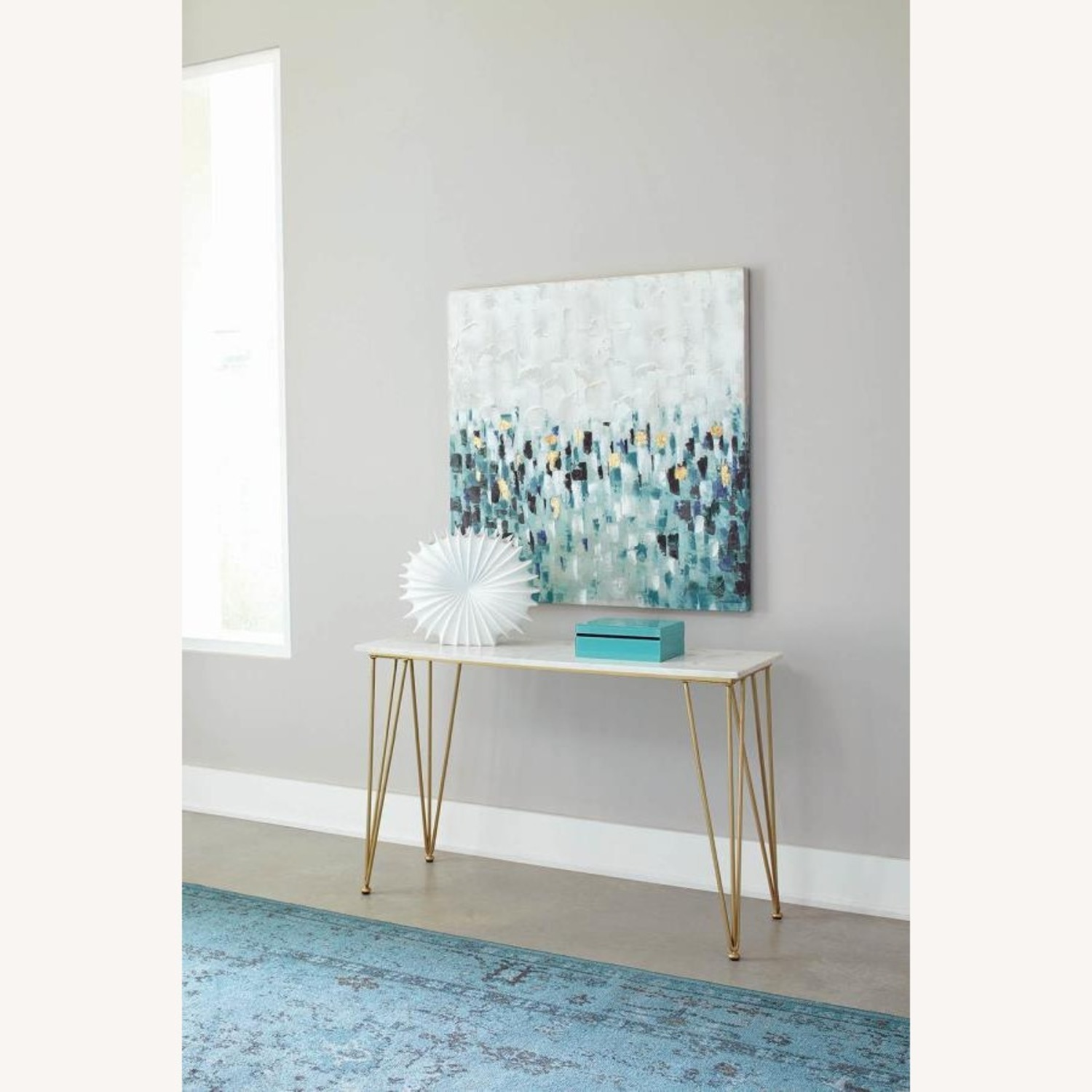 Classic Sofa Table In White Marble Tabletop Finish - image-2