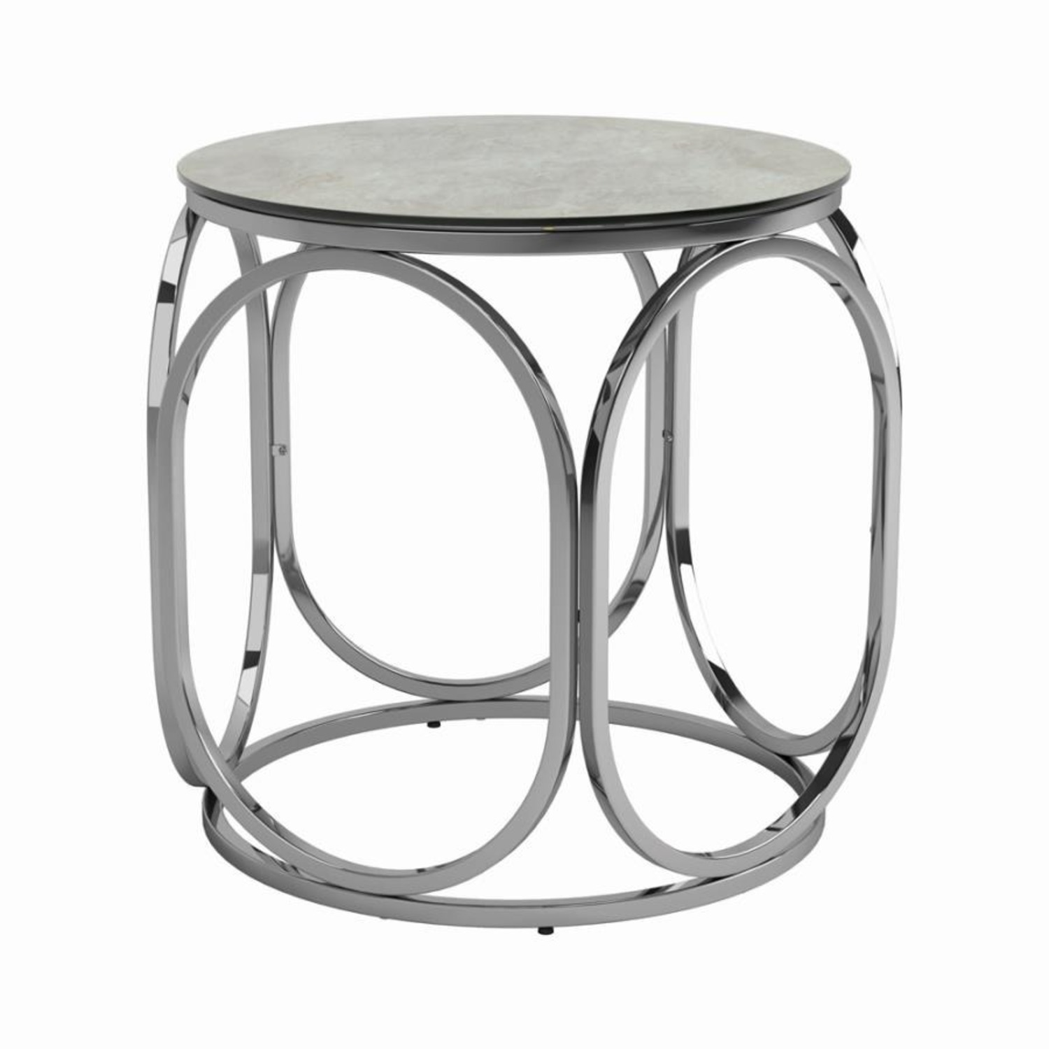 Circular Shapes End Table In Chrome Metal Finish - image-0