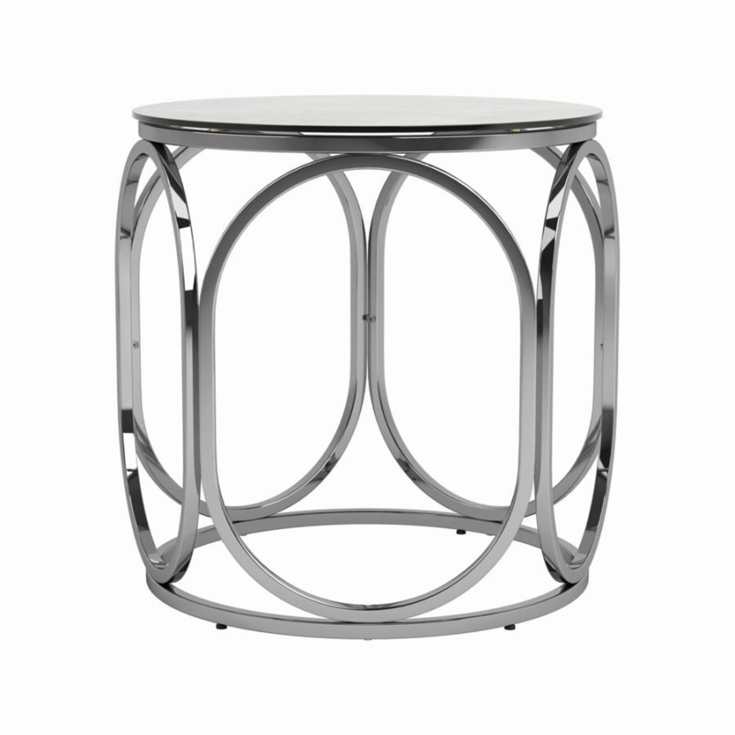 Circular Shapes End Table In Chrome Metal Finish - image-1