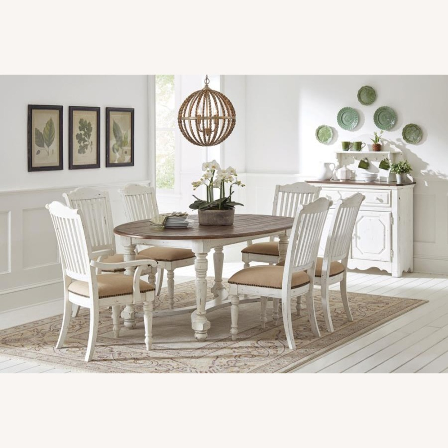 Rustic Farmhouse Style Side Chair In White Finish - image-5