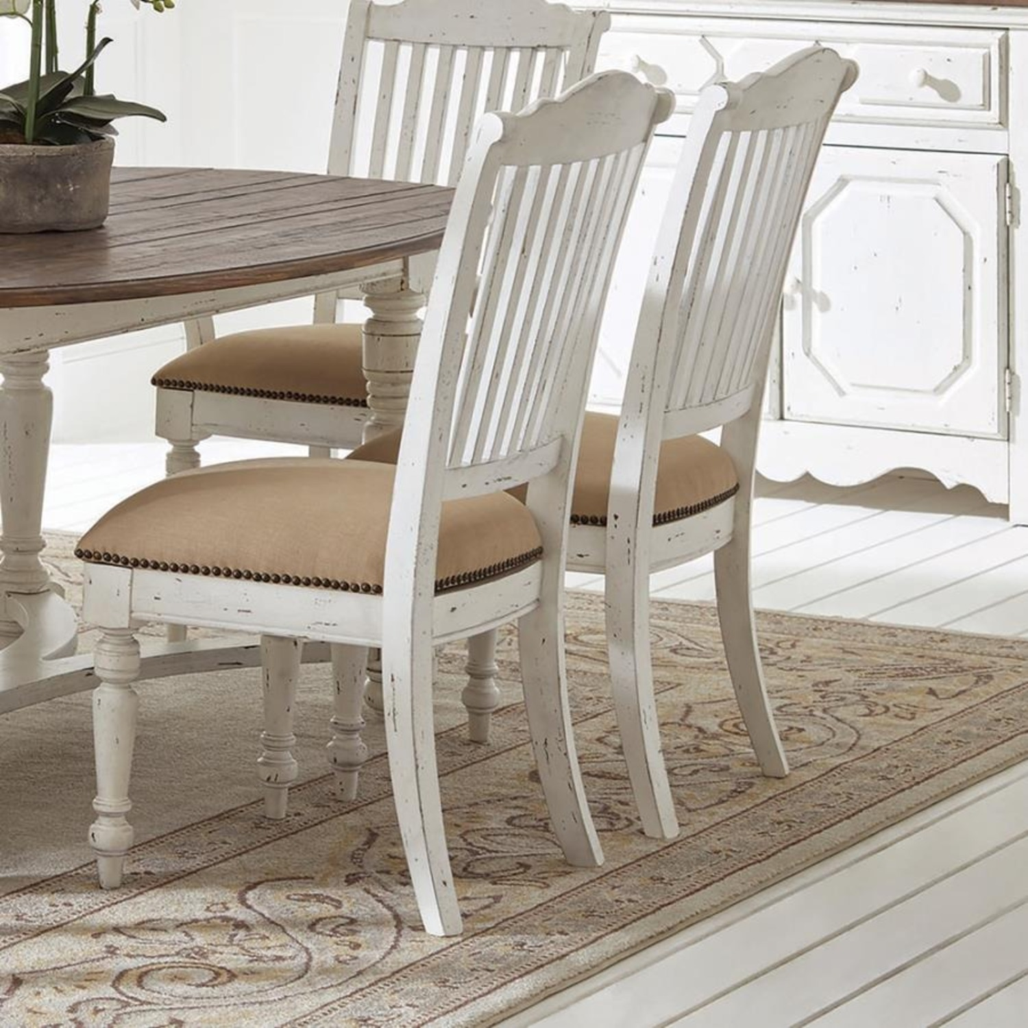 Rustic Farmhouse Style Side Chair In White Finish - image-4