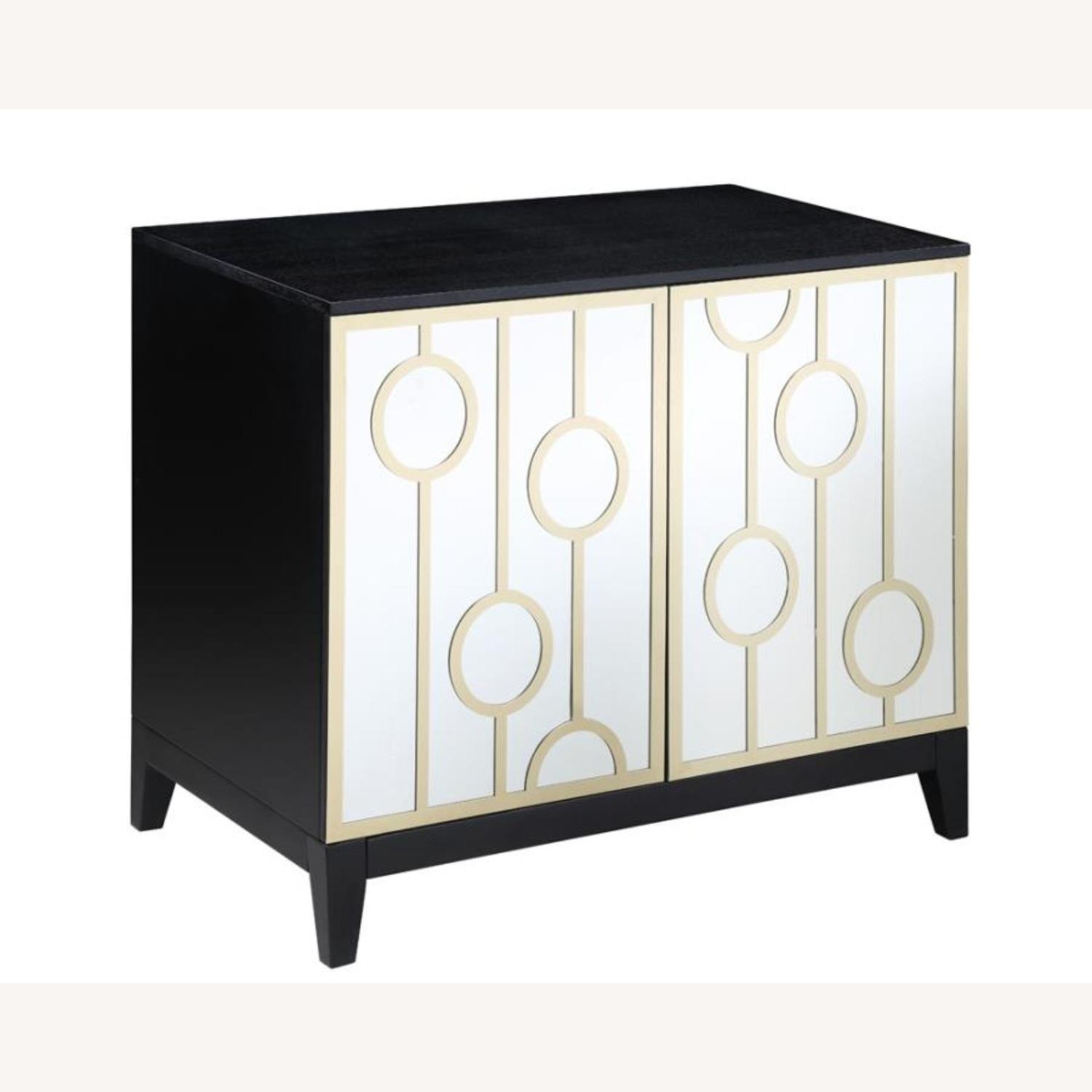 Server W Decorative Mirrored Fronts & Gold Rings - image-0