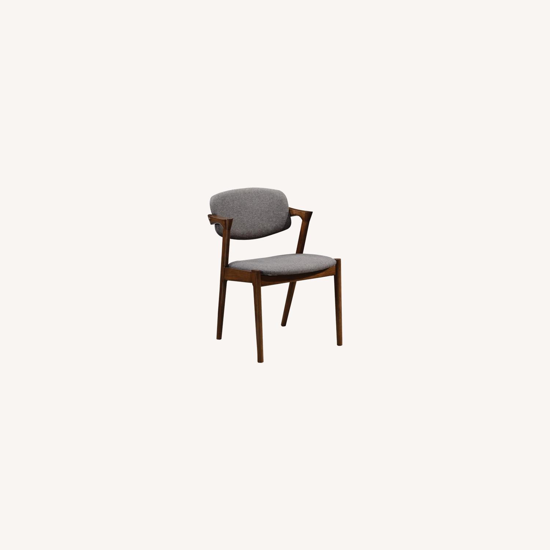 Modern Side Chair In Deep Grey Fabric - image-3