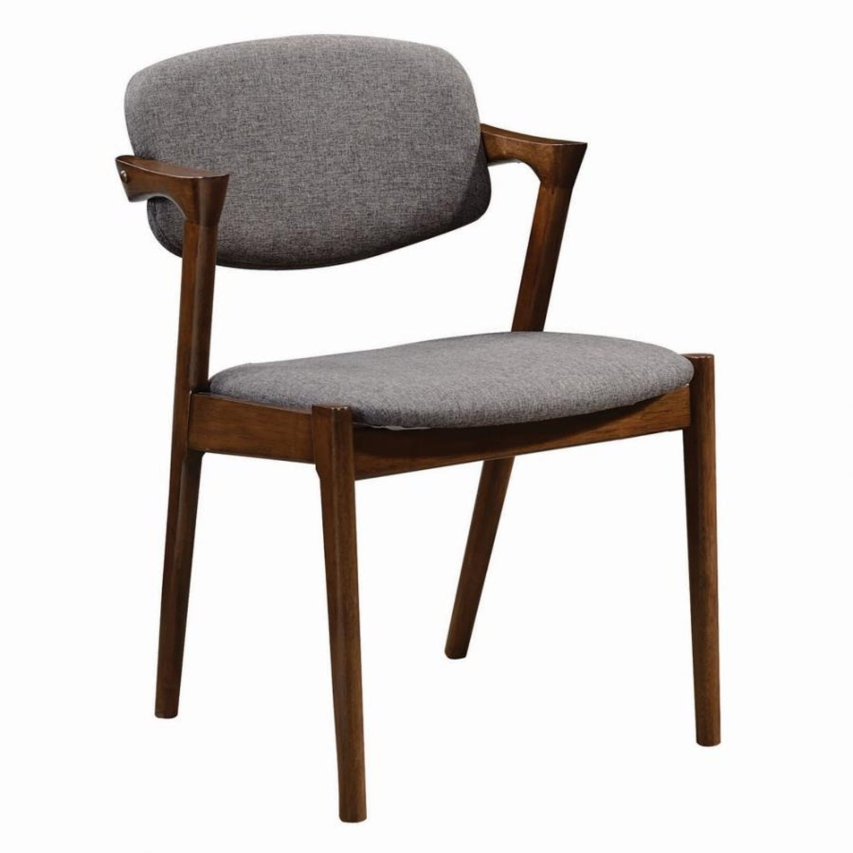 Modern Side Chair In Deep Grey Fabric - image-0