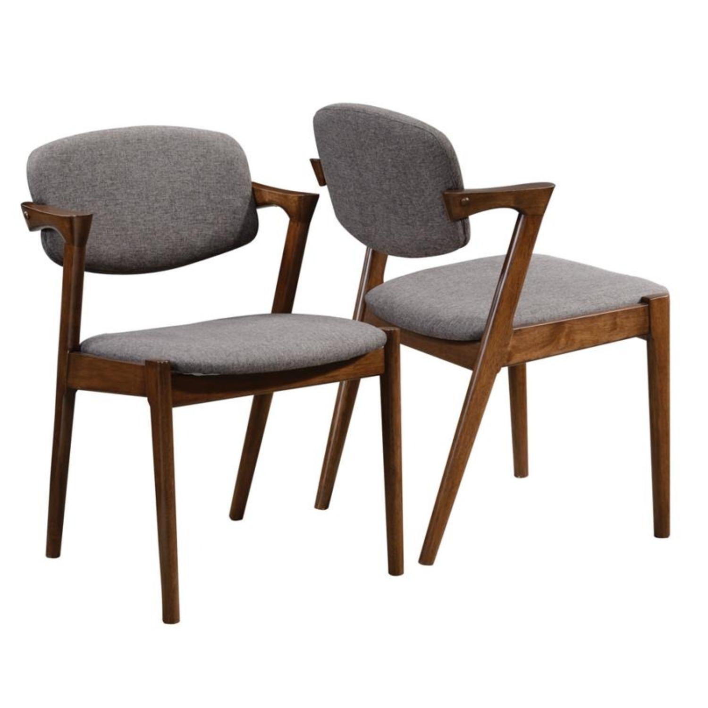 Modern Side Chair In Deep Grey Fabric - image-1