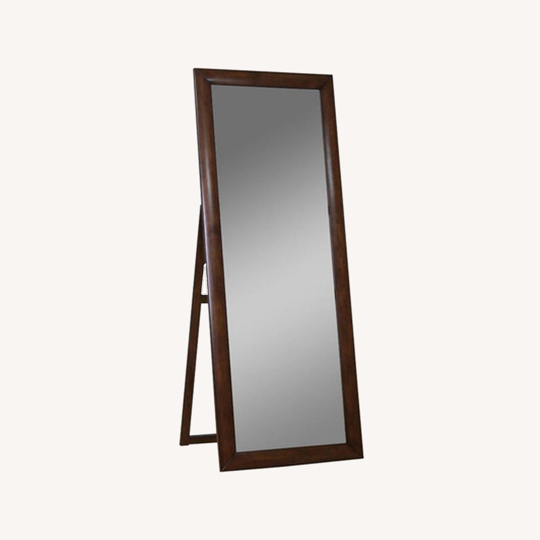 Transitional Floor Mirror W/ Warm Brown Finish - image-0