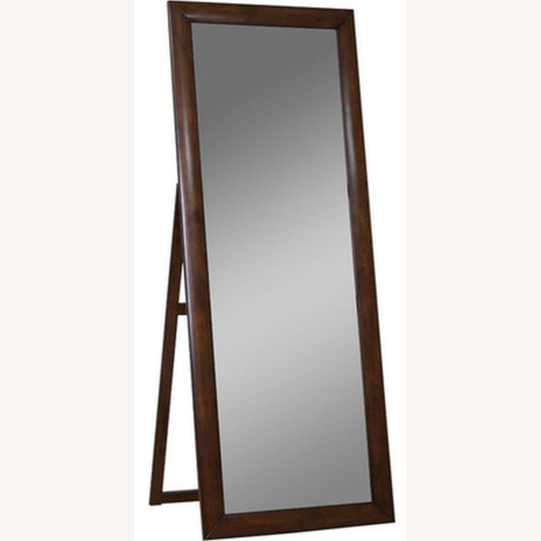 Transitional Floor Mirror W/ Warm Brown Finish - image-1