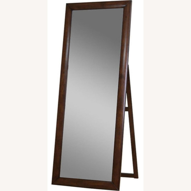 Transitional Floor Mirror W/ Warm Brown Finish - image-2