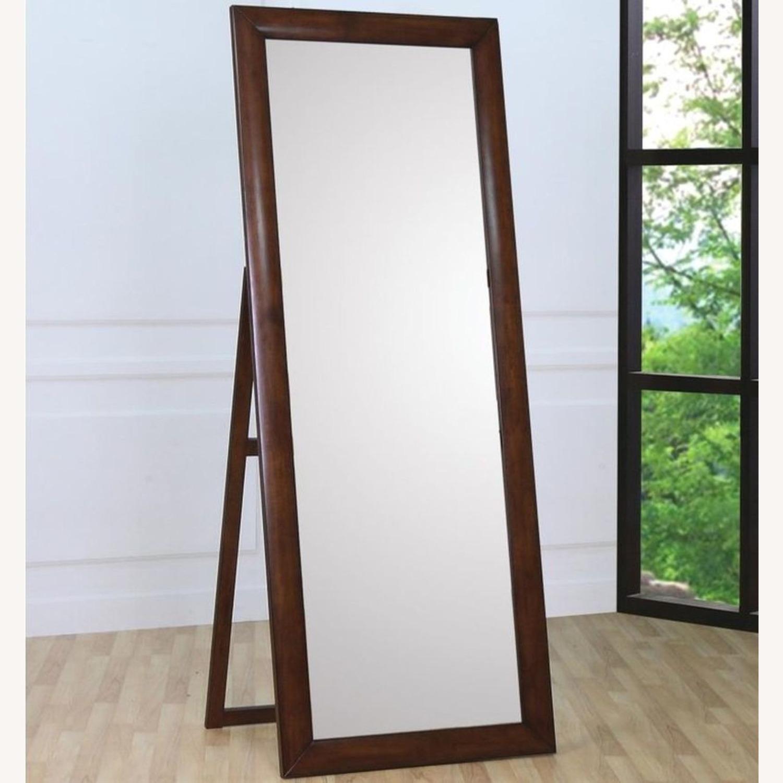 Transitional Floor Mirror W/ Warm Brown Finish - image-3