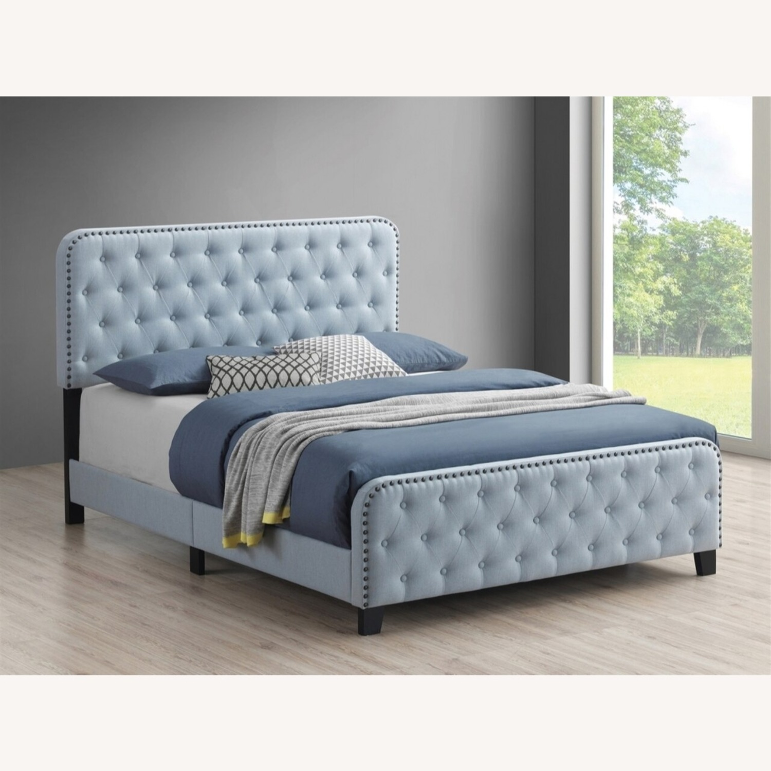 Vintage Queen Bed In Delft Blue Fabric - image-3