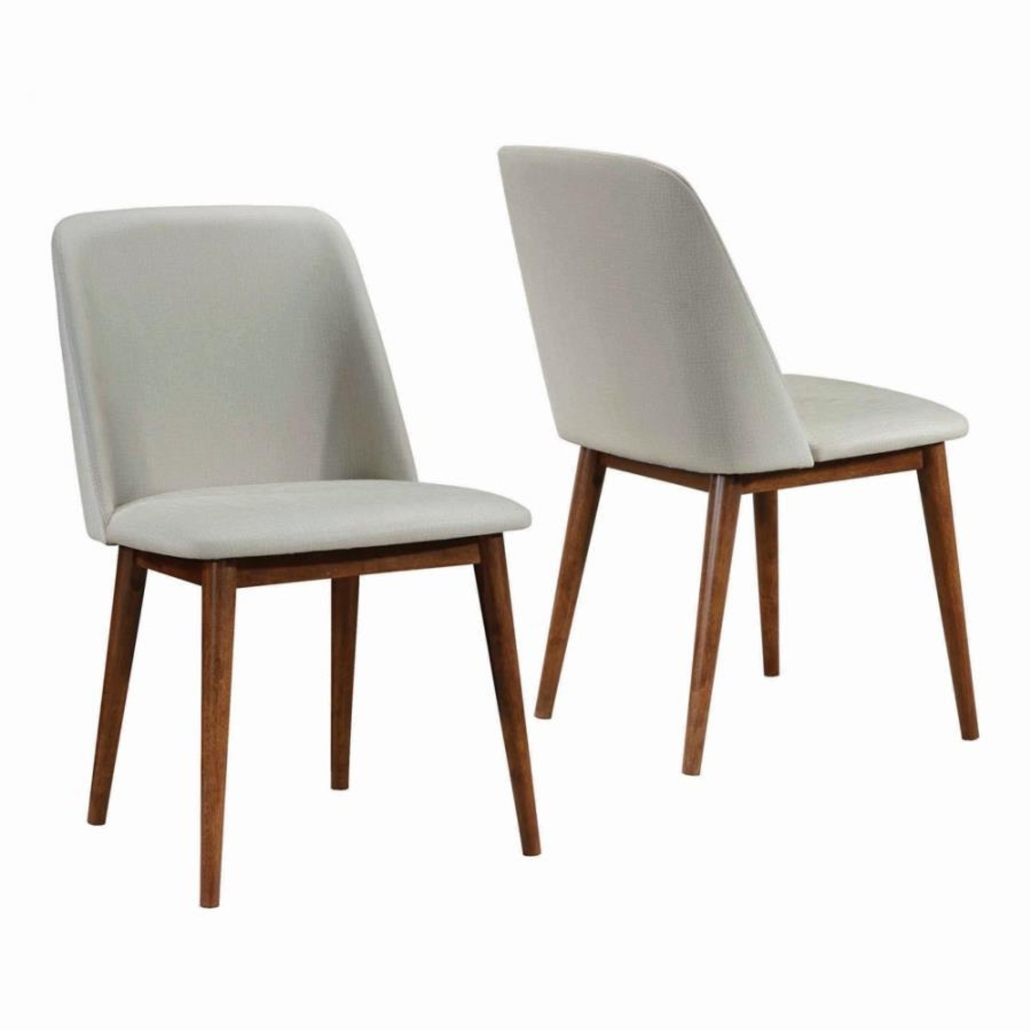 Modern Side Chair In Light Grey Fabric Finish - image-1