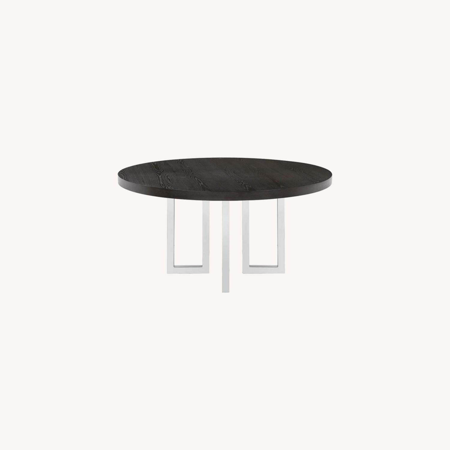 Modern Round Dining Table In Graphite Wood Finish - image-3