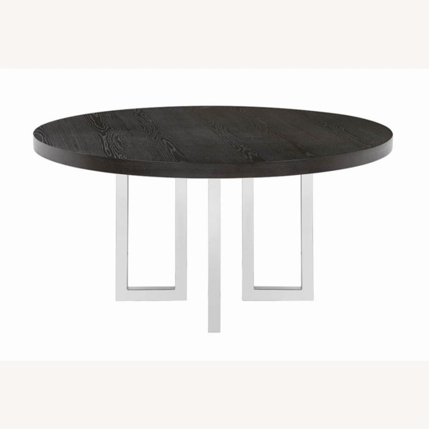Modern Round Dining Table In Graphite Wood Finish - image-0