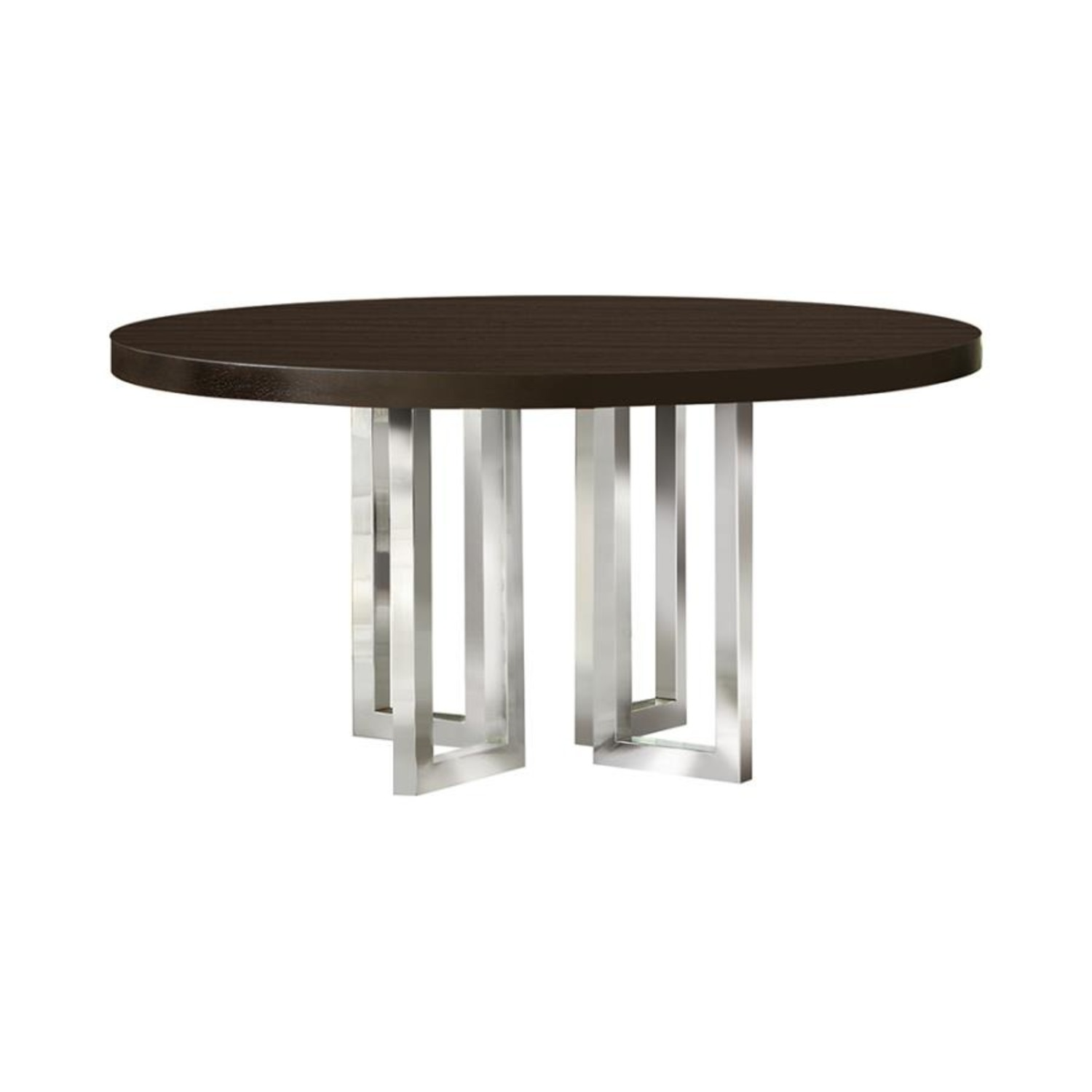 Modern Round Dining Table In Graphite Wood Finish - image-1