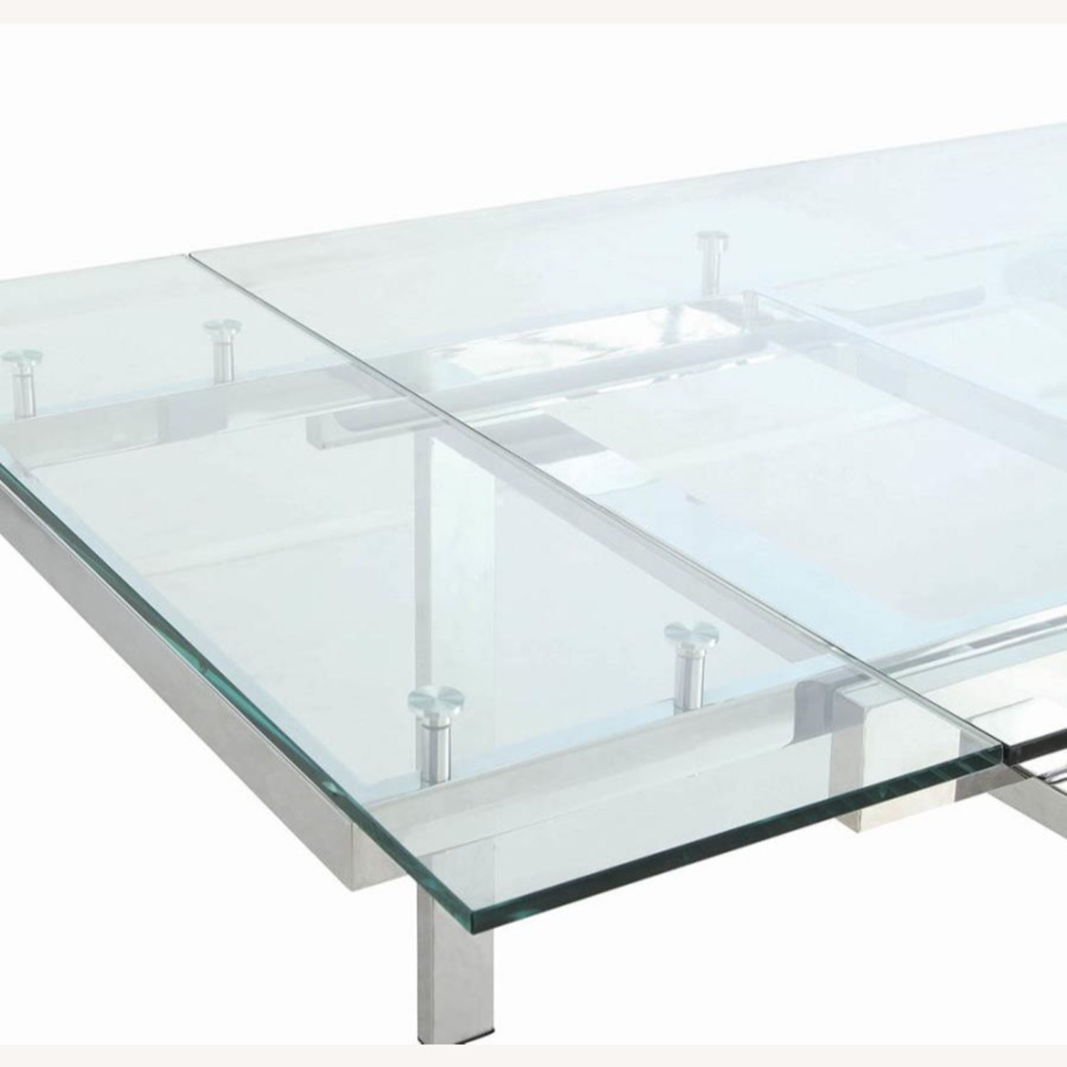 Modern Dining Table Polished In Chrome Finish - image-2