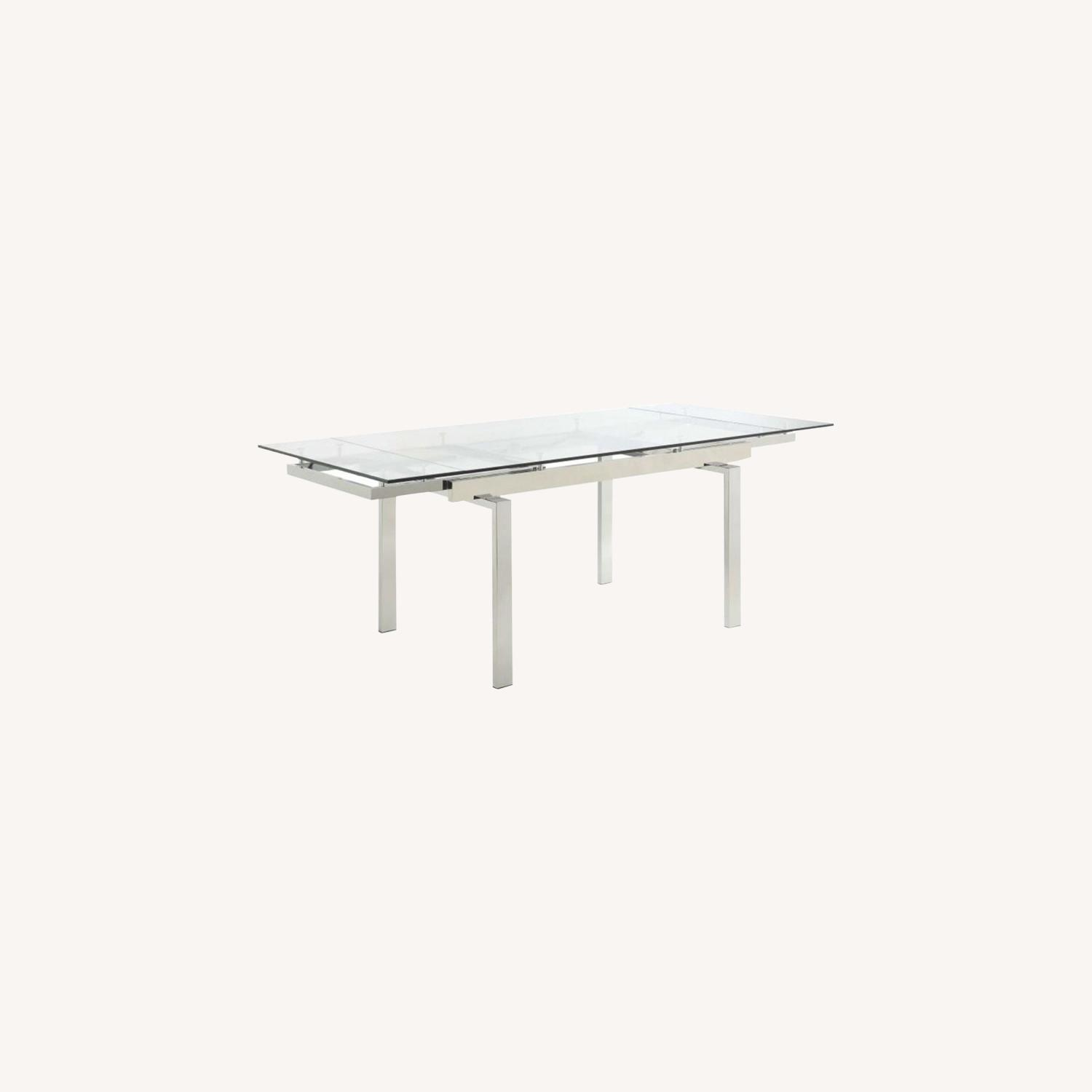 Modern Dining Table Polished In Chrome Finish - image-4