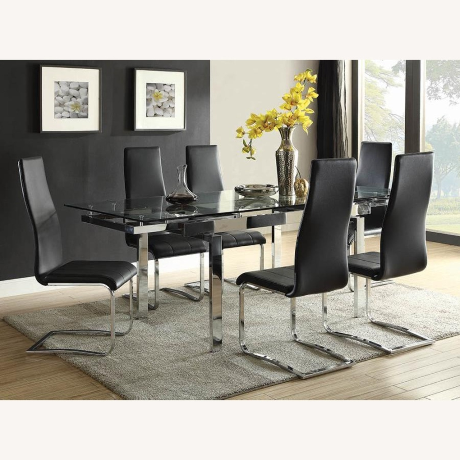 Modern Dining Table Polished In Chrome Finish - image-3