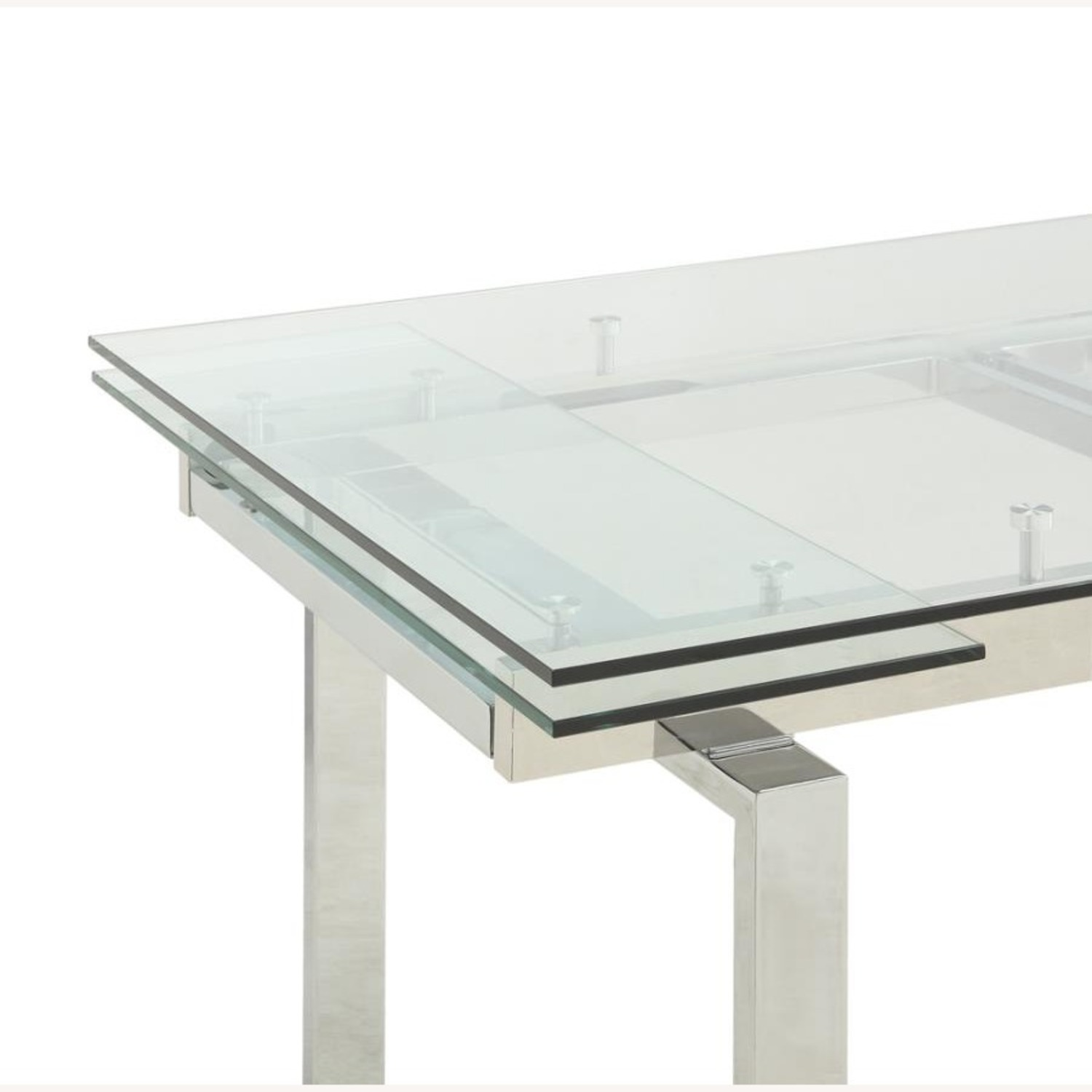 Modern Dining Table Polished In Chrome Finish - image-1