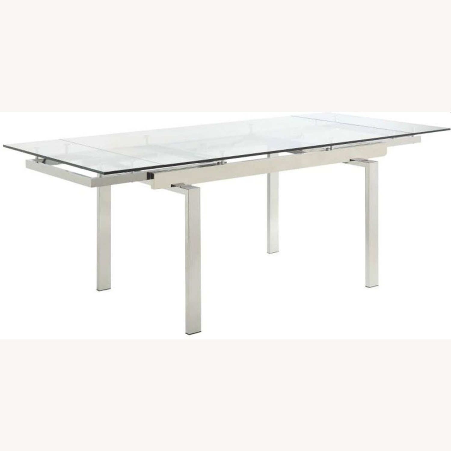 Modern Dining Table Polished In Chrome Finish - image-0