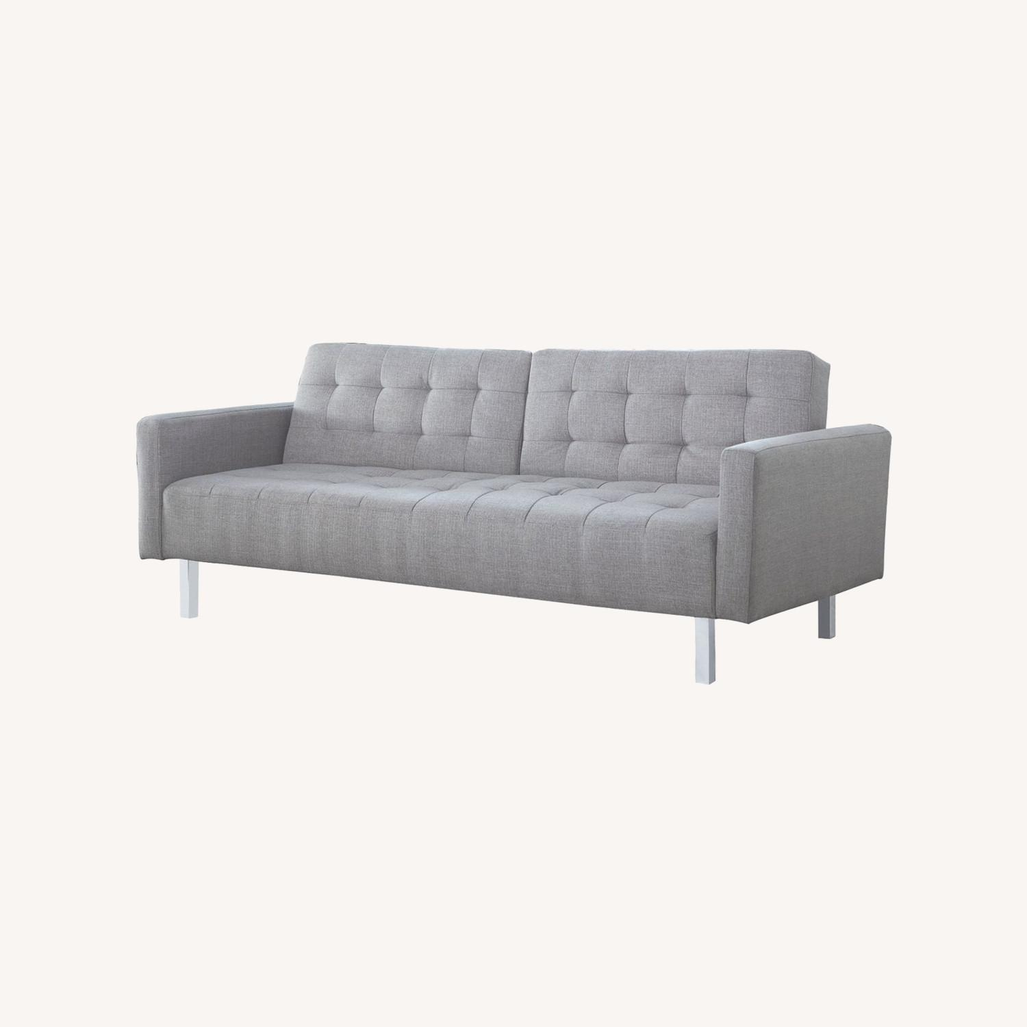 Modern Button Tufted Sofa Bed In Light Grey Fabric - image-4