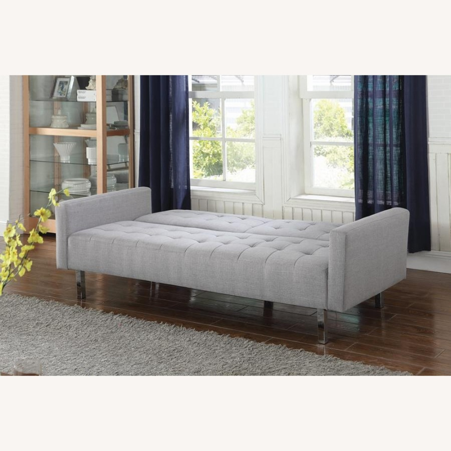 Modern Button Tufted Sofa Bed In Light Grey Fabric - image-3