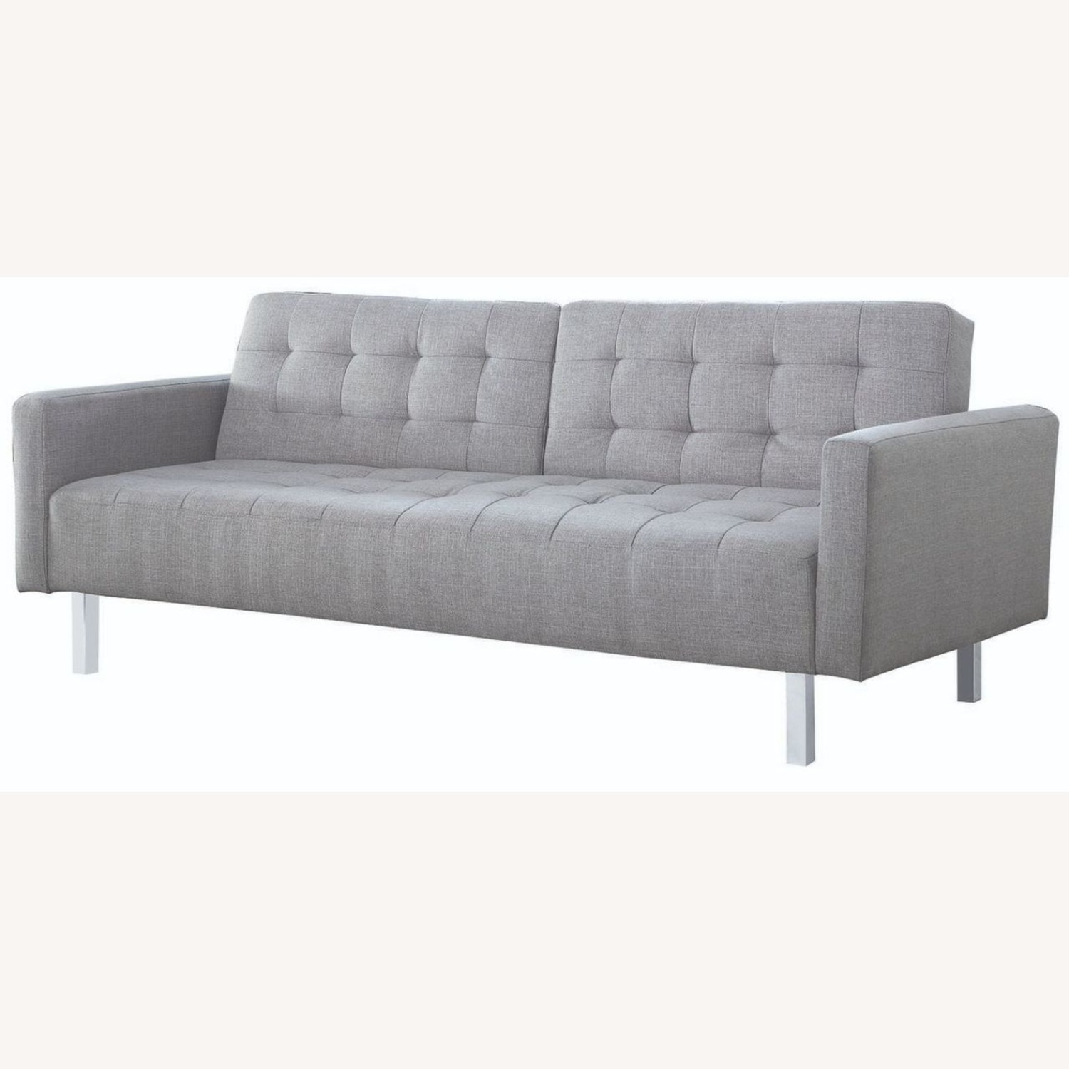 Modern Button Tufted Sofa Bed In Light Grey Fabric - image-0