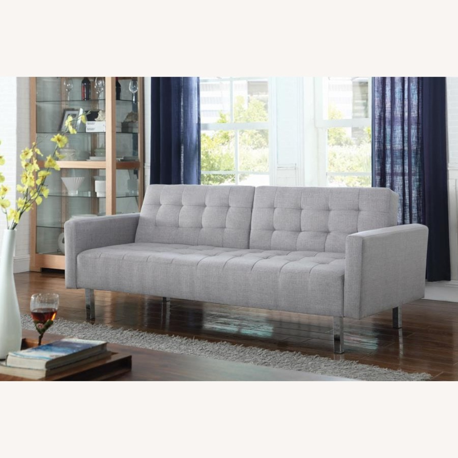 Modern Button Tufted Sofa Bed In Light Grey Fabric - image-2