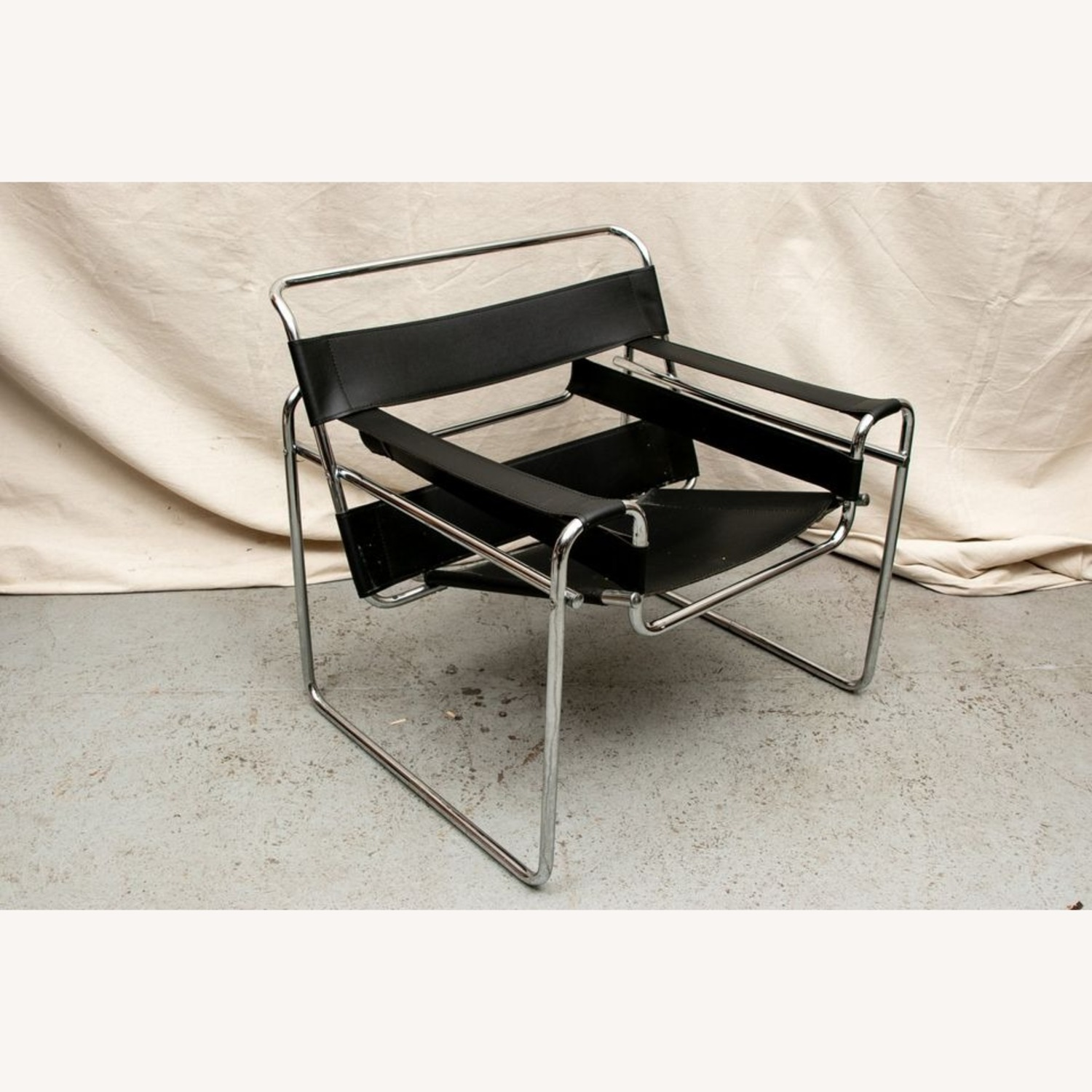 Set of TWO Breuer 'Wassily' Black Leather Chairs - image-3