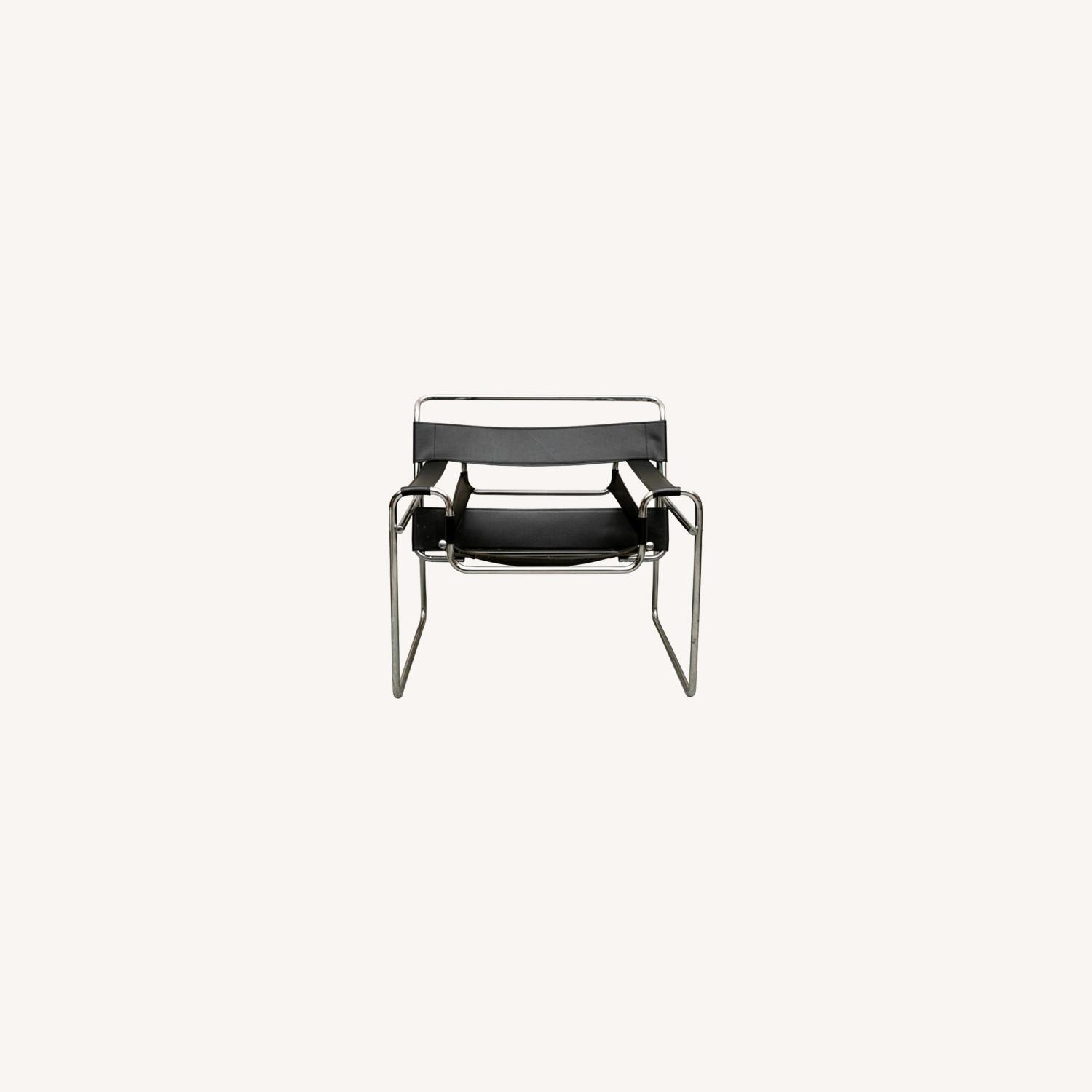 Set of TWO Breuer 'Wassily' Black Leather Chairs - image-0