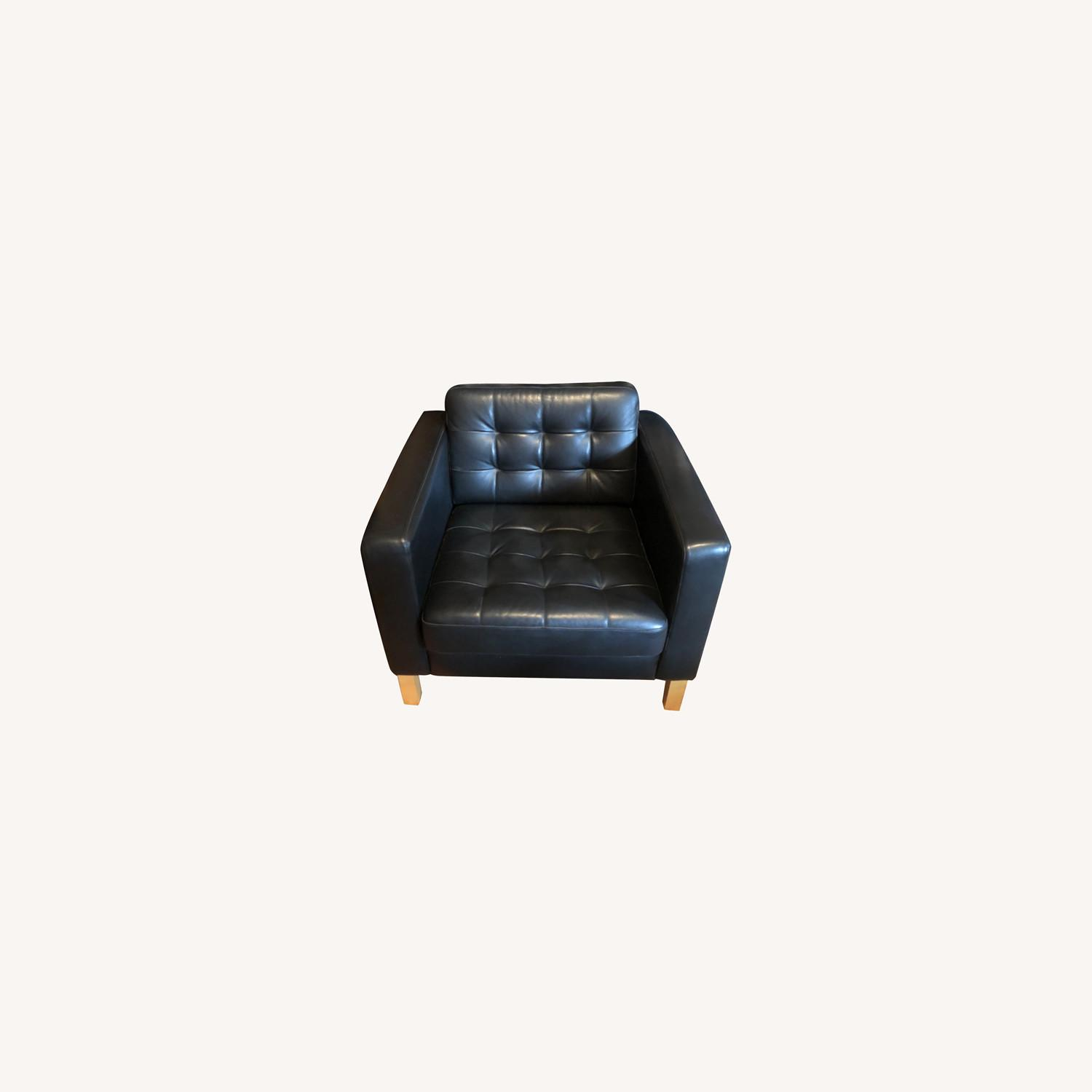 IKEA Karlstad Black Leather Armchair - image-0