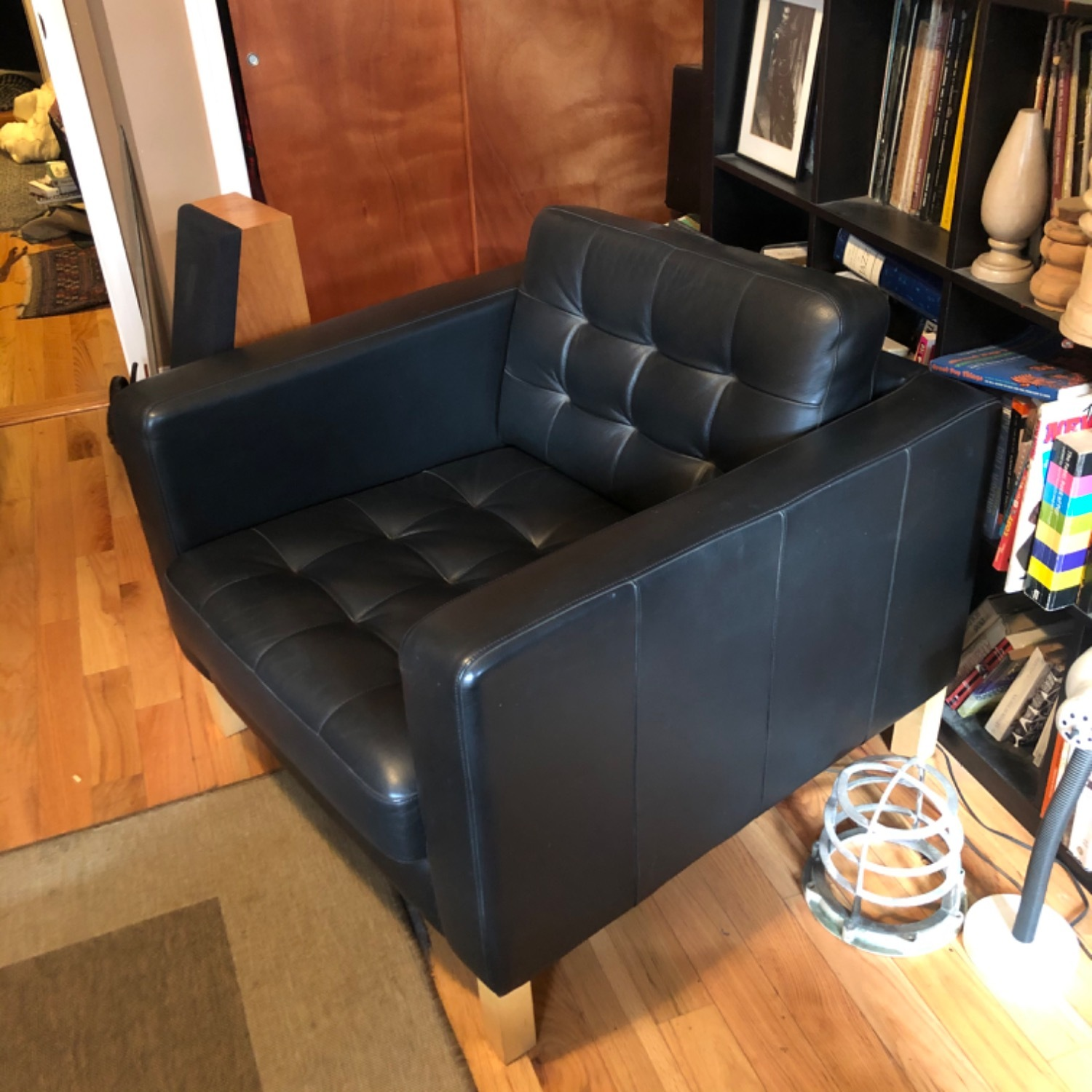 IKEA Karlstad Black Leather Armchair - image-2
