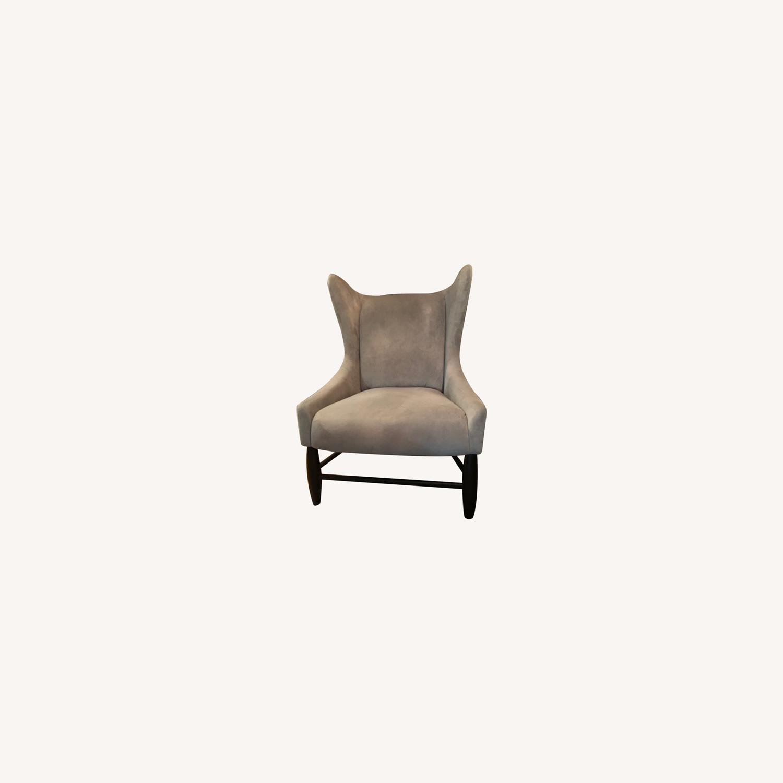 West Elm Grey Velvet Wing Armchair - image-0