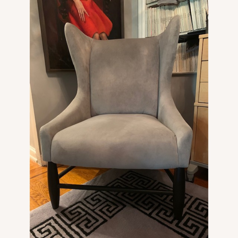 West Elm Grey Velvet Wing Armchair - image-1