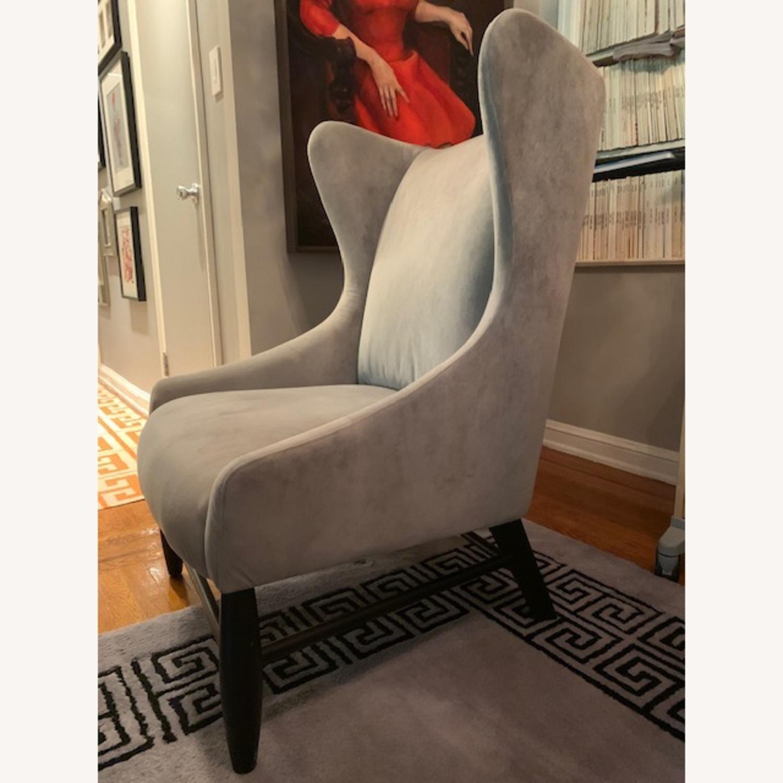 West Elm Grey Velvet Wing Armchair - image-2