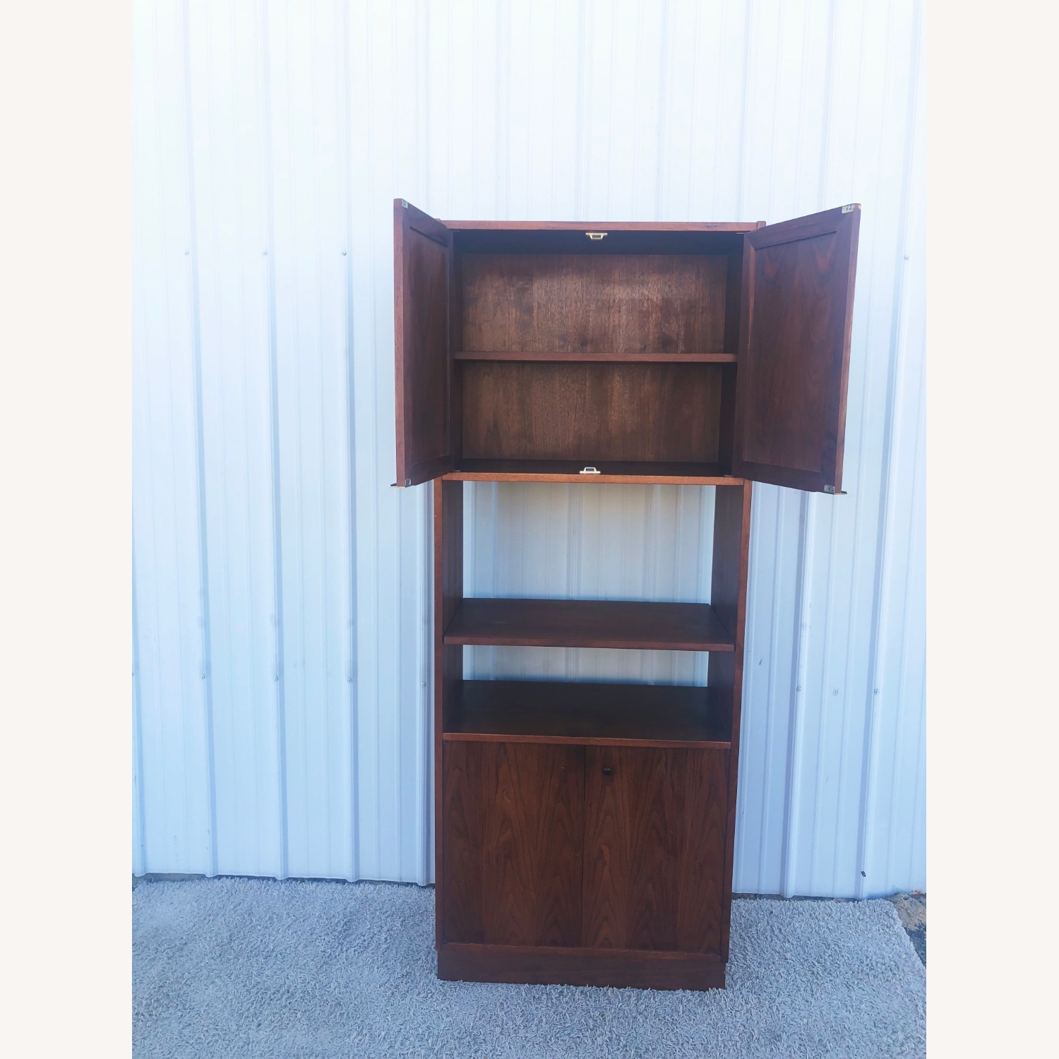 Mid Century Cabinet with Caned Doors & Shelves - image-9