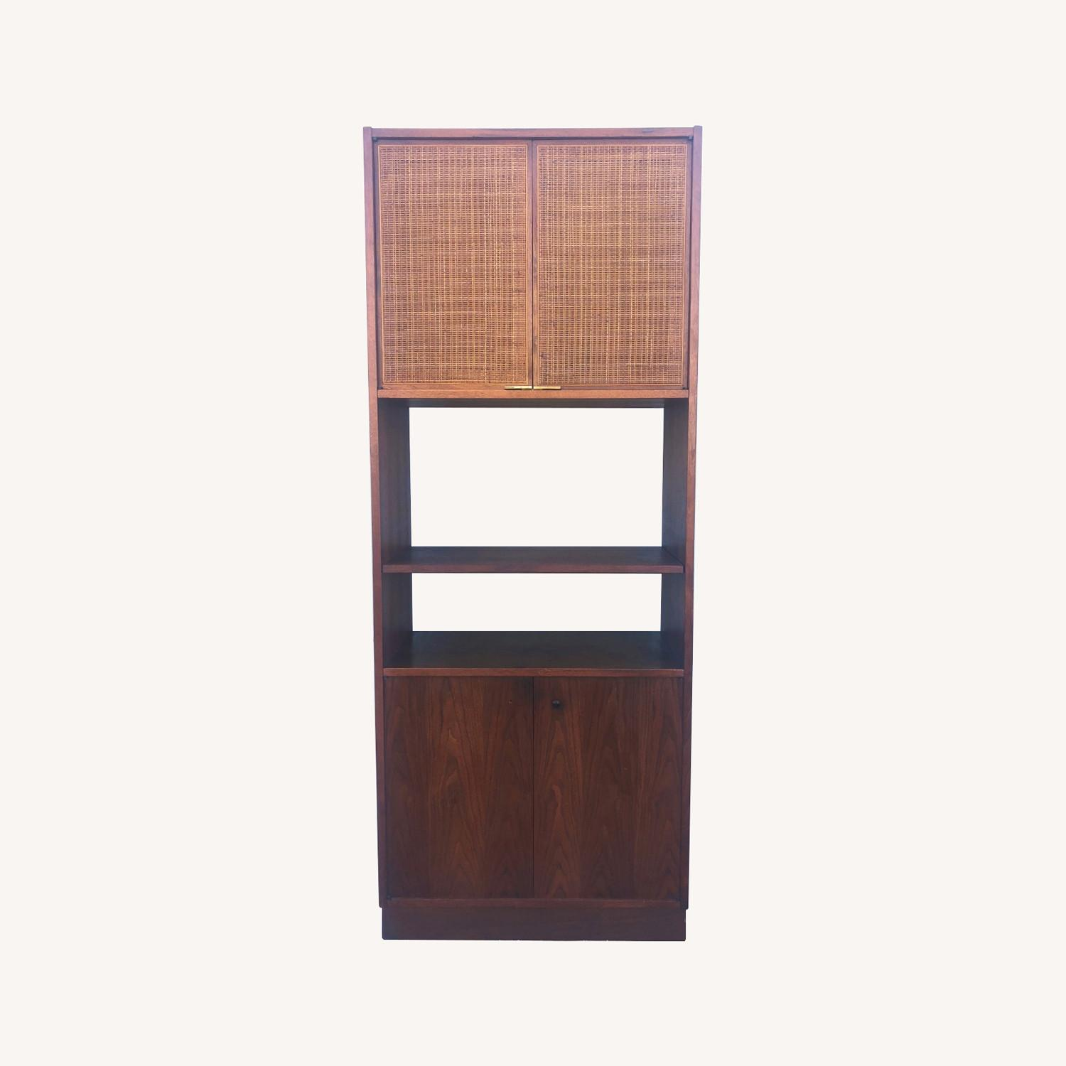 Mid Century Cabinet with Caned Doors & Shelves - image-0